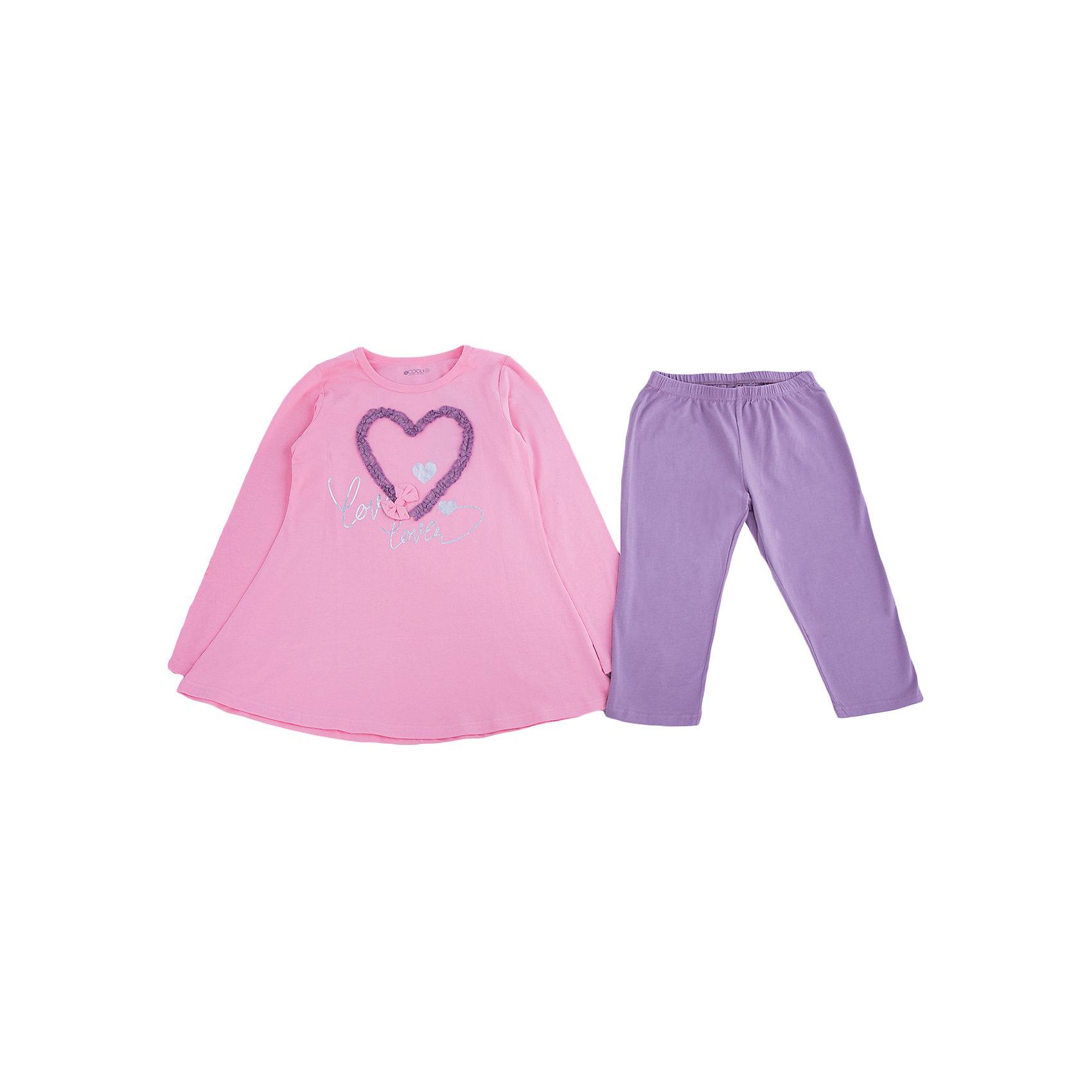 Комплект: туника и леггинсы для девочки ScoolКомплекты<br>Комплект: туника и леггинсы для девочки от известного бренда Scool. Нежный и удобный хлопковый комплект домашней одежды. В комплект вошла туника нежно-розового цвета с длинным рукавом, округлой горловиной и серо-фиолетовые леггинсы на внутренней резинке. Приятное сочетание цветов и милые декорации в виде сердечка из оборочек и нежного бантика придет по вкусу вашей моднице. <br><br>Дополнительная информация:<br>- В комплекте: туника, леггинсы<br>- Силуэт туники: расширенный к низу<br><br>Состав: 95% хлопок 5% эластан<br><br>Комплект: туника и леггинсы для девочки Scool можно купить в нашем интернет-магазине.<br><br>Подробнее:<br>• Для детей в возрасте: от 9 до 13 лет<br>• Номер товара: 4911353<br>Страна производитель: Китай<br><br>Ширина мм: 123<br>Глубина мм: 10<br>Высота мм: 149<br>Вес г: 209<br>Цвет: розовый<br>Возраст от месяцев: 120<br>Возраст до месяцев: 132<br>Пол: Женский<br>Возраст: Детский<br>Размер: 146,140,152,158,164,134<br>SKU: 4911352