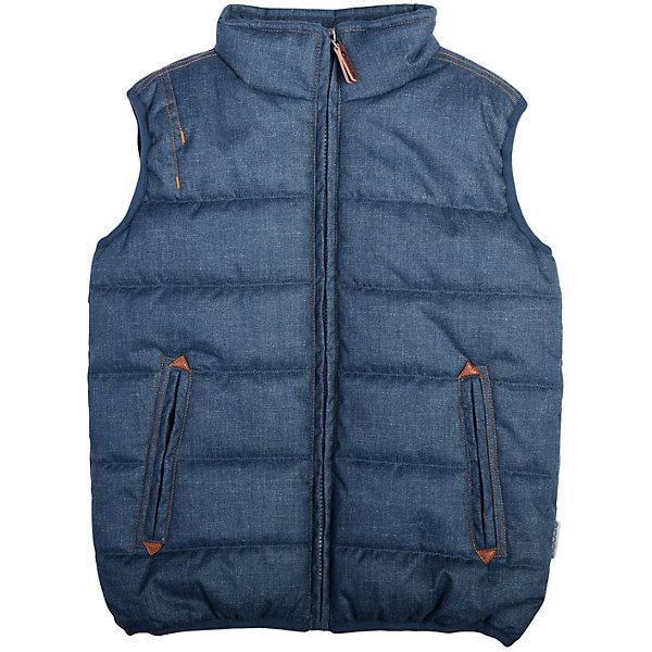 Жилет для мальчика ScoolВерхняя одежда<br>Жилет для мальчика из коллекции «Скорость» от известного бренда Scool. Стильный и удобный  стеганый жилет на осень/весну. Приятный дизайн «под джинсовую ткань» сочетается с кожаными деталями и придет по вкусу вашему ребенку. У куртки имеются два удобных кармана, высокий воротник защитит от ветра и холода. Стиль жилета позволяет носить с ним как классические вещи, так и спортивные.<br><br>Дополнительная информация:<br>- Силуэт: прямой<br>- Длина: средняя<br><br>Состав: Верх: 100% полиэстер, Подкладка: 100% полиэстер, Наполнитель: 100% полиэстер, 250 г/м2<br><br>Жилет для мальчика Scool можно купить в нашем интернет-магазине.<br><br>Подробнее:<br>• Для детей в возрасте: от 8 до 14 лет<br>• Номер товара: 4911395<br>Страна производитель: Китай<br><br>Ширина мм: 356<br>Глубина мм: 10<br>Высота мм: 245<br>Вес г: 519<br>Цвет: синий<br>Возраст от месяцев: 120<br>Возраст до месяцев: 132<br>Пол: Мужской<br>Возраст: Детский<br>Размер: 146,134,164,152,140,158<br>SKU: 4911394