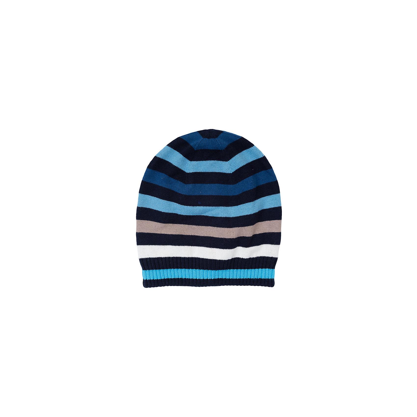 Шапка для мальчика ScoolШапка для мальчика из коллекции «Скорость» от известного бренда Scool. Удобная шапка из вязанного трикотажа на осень/весну. Приятные полоски синих цветов, сочетающиеся с бежевым и белым придут по вкусу вашему ребенку. Мягкий материал приятен для носки и защищает от ветра и холода. Шапка отлично подойдет как к пальто, так и к пуховикам и курткам. <br><br>Дополнительная информация:<br>- Низ шапки на широкой резинке<br><br>Состав: 60% хлопок, 40% акрил, подкладка: 60% хлопок, 40% акрил<br><br>Шапку для мальчика Scool можно купить в нашем интернет-магазине.<br><br>Подробнее:<br>• Для детей в возрасте: от 8 до 14 лет<br>• Номер товара: 4911514<br>Страна производитель: Китай<br><br>Ширина мм: 89<br>Глубина мм: 117<br>Высота мм: 44<br>Вес г: 155<br>Цвет: разноцветный<br>Возраст от месяцев: 72<br>Возраст до месяцев: 84<br>Пол: Мужской<br>Возраст: Детский<br>Размер: 54,56<br>SKU: 4911513