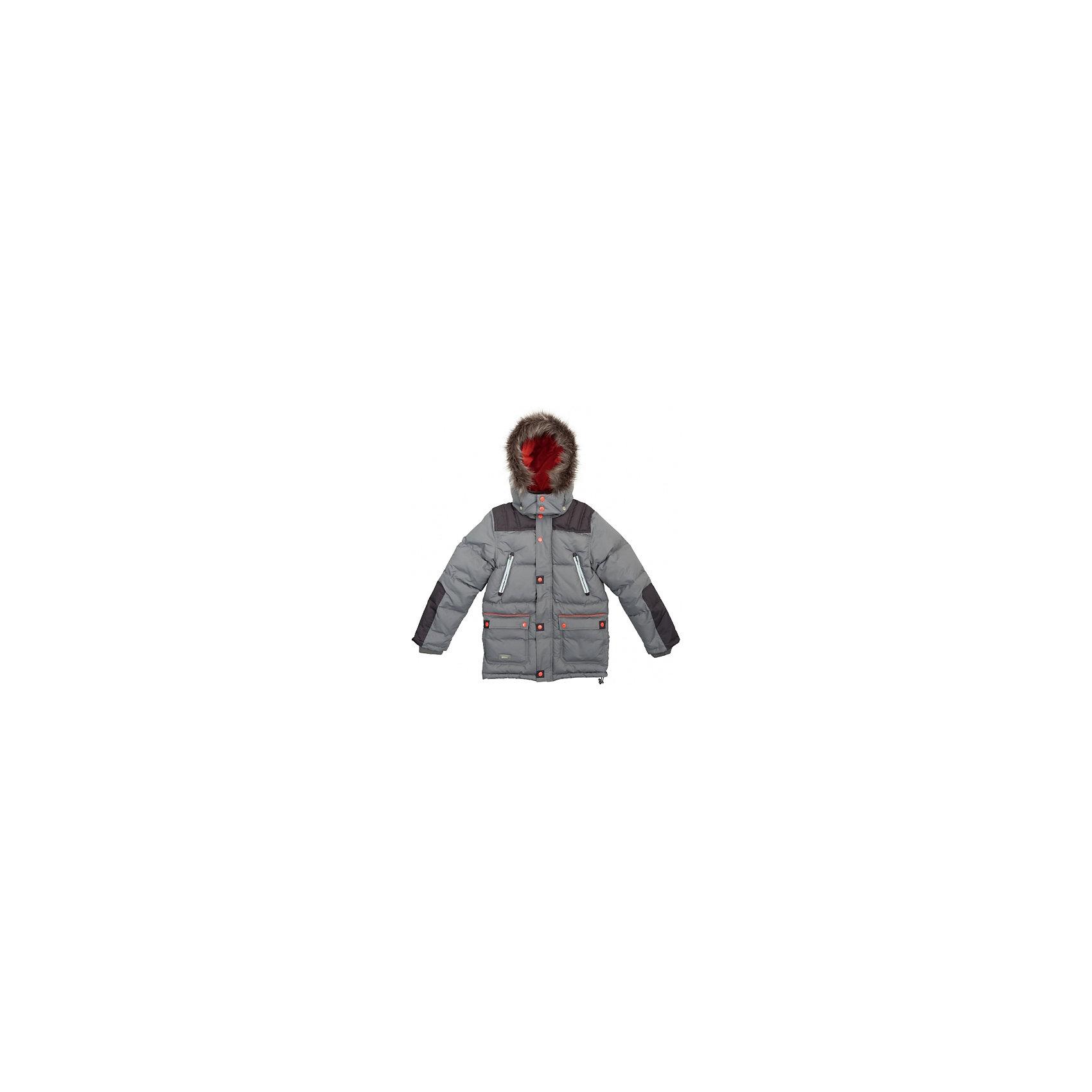 Куртка для мальчика ScoolВерхняя одежда<br>Куртка для мальчика Scool – надежная защита от холода и дождя.<br>Сделана куртка из непромокаемого материала. Специальная ветрозащитная планка на кнопках у капюшона позволяет защитить шею от продувания. Капюшон также можно затянуть стоппером, как и низ куртки. Под внешним слоем, внизу, есть подкладка, застегнув которую, ребенок также будет защищен от ветра. От попадания снега или воды в рукава на куртке предусмотрены трикотажные манжеты. <br><br>Дополнительная информация:<br><br>- материал: верх и подкладка – 100% полиэстер, наполнитель 62% полиэстера, 30% пух, 8% перо<br>- цвет: серый<br><br>Куртку для мальчика Scool можно купить в нашем интернет магазине.<br><br>Ширина мм: 356<br>Глубина мм: 10<br>Высота мм: 245<br>Вес г: 519<br>Цвет: разноцветный<br>Возраст от месяцев: 156<br>Возраст до месяцев: 168<br>Пол: Мужской<br>Возраст: Детский<br>Размер: 164,140,152,134,146,158<br>SKU: 4911544