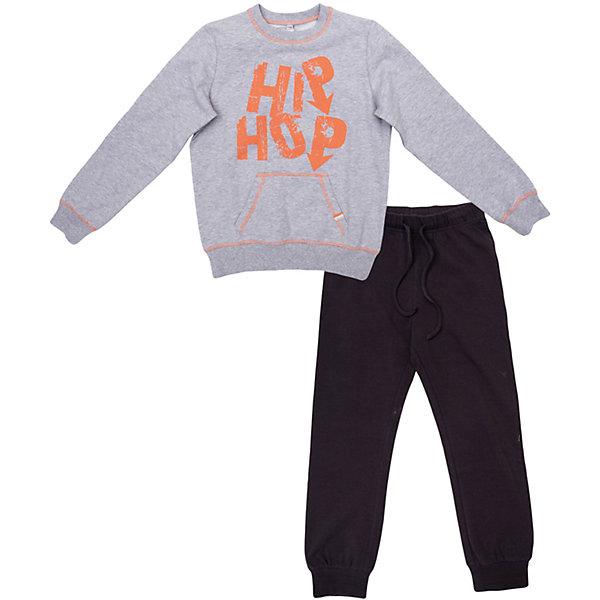 Комплект: толстовка и брюки для мальчика ScoolСпортивная форма<br>Комплект: толстовка и брюки для мальчика Scool – идеальный вариант для спортивной формы.<br>Черные штаны свободного покроя, снизу утягиваются резинкой. Регулируются веревочками. Серая кофта с оранжевой надписью, также утягивается резинками внизу и на рукавах. Теплый, но в тоже время дышащий комплект изготовлен из качественного материала, который не вызывает аллергии.<br><br>Дополнительная информация:<br><br>- материал: 95% хлопок, 5% эластан<br>- цвет: серый, черный<br>- в комплекте: толстовка и брюки<br><br>Комплект: толстовка и брюки для мальчика Scool можно купить в нашем интернет магазине.<br>Ширина мм: 215; Глубина мм: 88; Высота мм: 191; Вес г: 336; Цвет: черный; Возраст от месяцев: 96; Возраст до месяцев: 108; Пол: Мужской; Возраст: Детский; Размер: 134,158,164,140,152,146; SKU: 4911675;