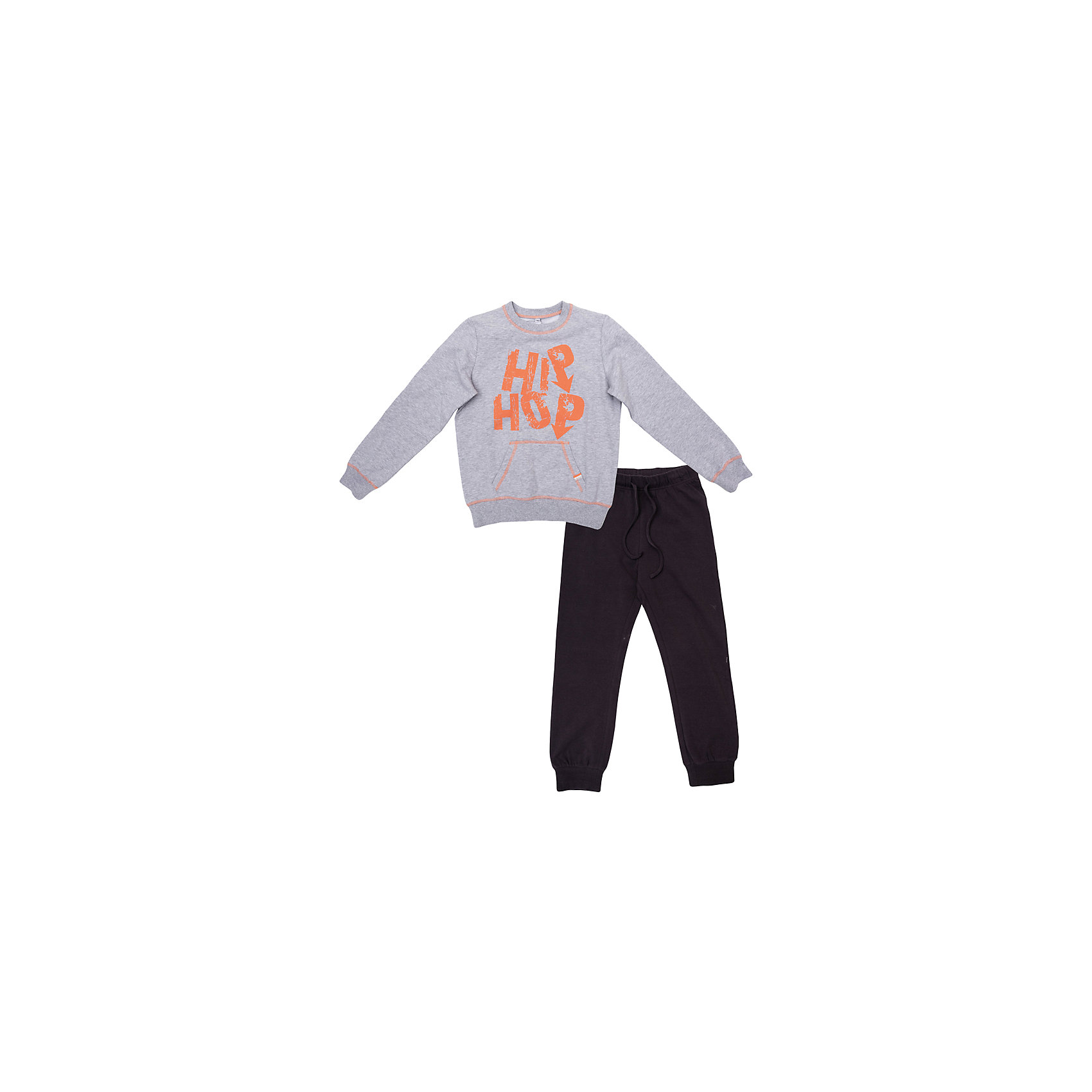 Комплект: толстовка и брюки для мальчика ScoolСпортивная форма<br>Комплект: толстовка и брюки для мальчика Scool – идеальный вариант для спортивной формы.<br>Черные штаны свободного покроя, снизу утягиваются резинкой. Регулируются веревочками. Серая кофта с оранжевой надписью, также утягивается резинками внизу и на рукавах. Теплый, но в тоже время дышащий комплект изготовлен из качественного материала, который не вызывает аллергии.<br><br>Дополнительная информация:<br><br>- материал: 95% хлопок, 5% эластан<br>- цвет: серый, черный<br>- в комплекте: толстовка и брюки<br><br>Комплект: толстовка и брюки для мальчика Scool можно купить в нашем интернет магазине.<br><br>Ширина мм: 215<br>Глубина мм: 88<br>Высота мм: 191<br>Вес г: 336<br>Цвет: черный<br>Возраст от месяцев: 120<br>Возраст до месяцев: 132<br>Пол: Мужской<br>Возраст: Детский<br>Размер: 146,158,152,140,164,134<br>SKU: 4911675