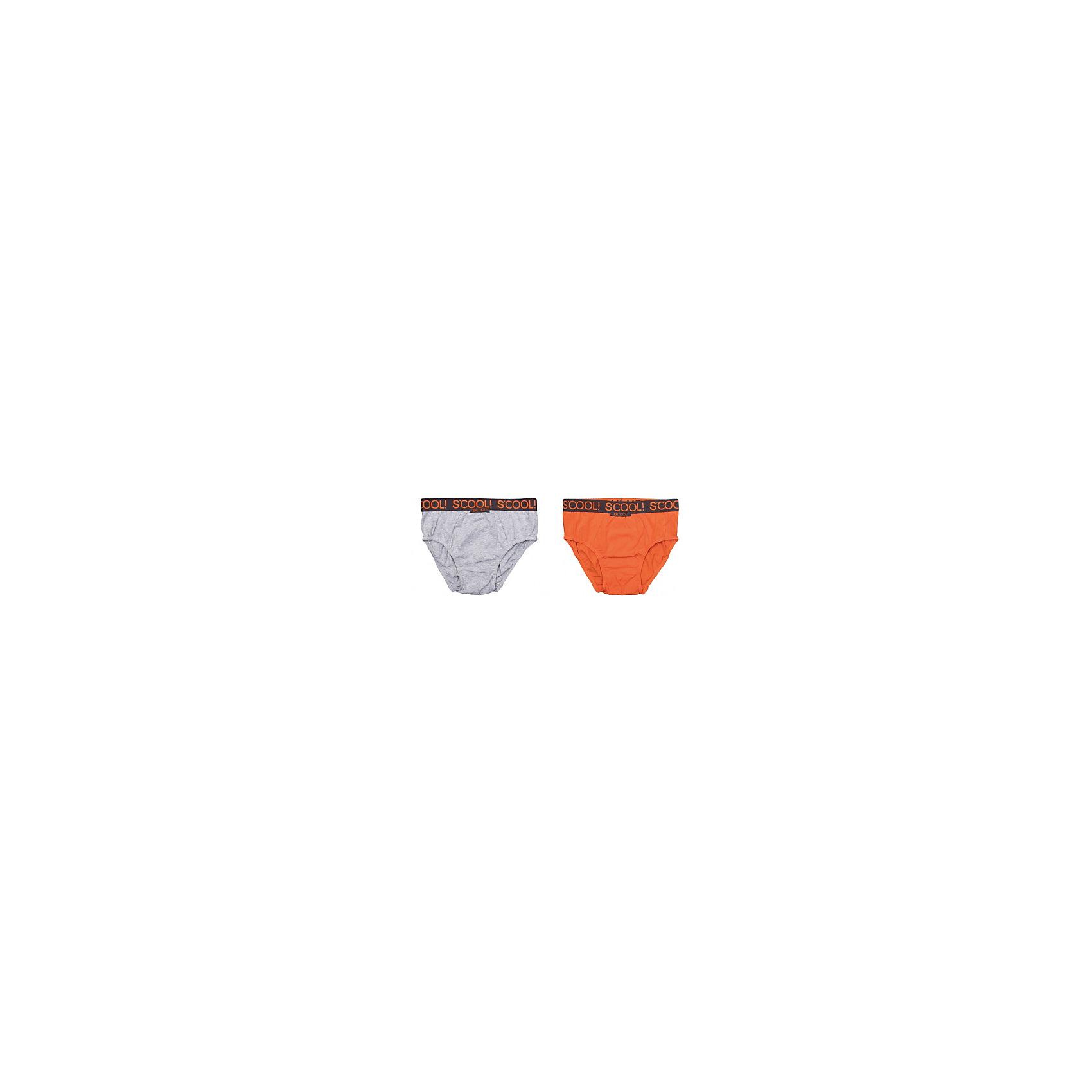 Трусы, 2 шт. для мальчика ScoolТрусы, 2 шт. для мальчика Scool –удобство и комфорт в сочетании со стилем.<br>Модные и красивые трусы на мягкой резинке сделаны из натурального хлопка, который не вызывает раздражение. Ткань позволяет коже дышать, а свободный покрой не стягивает тело. Трусы двух контрастных цветов: спокойный серый и яркий оранжевый.<br><br>Дополнительная информация:<br><br>- материал: 95% хлопок, 5% эластан<br>- цвет: серый, оранжевый<br>- 2 шт<br><br>Трусы, 2 шт. для мальчика Scool можно купить в нашем интернет магазине.<br><br>Ширина мм: 196<br>Глубина мм: 10<br>Высота мм: 154<br>Вес г: 152<br>Цвет: разноцветный<br>Возраст от месяцев: 156<br>Возраст до месяцев: 168<br>Пол: Мужской<br>Возраст: Детский<br>Размер: 158/164,134/140,146/152<br>SKU: 4911682