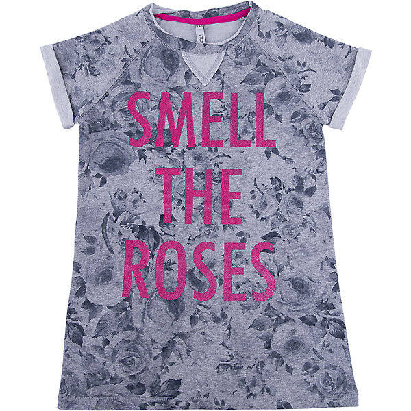 Платье для девочки ScoolПлатья и сарафаны<br>Платье для девочки Scool – укороченная летняя модель.<br>Серое платье с розами отлично подойдет под джинсы или легинсы, как туника. Треугольник в воротничке создает эффект многослойности. Платье с короткими «закатанными» рукавами, закрывающими плечи, идеально для жаркой погоды. Надпись не тускнеет от машинной стирки.<br><br>Дополнительная информация:<br><br>- материал: 80% хлопок, 15% полиэстер, 5% эластан<br>- цвет: серый<br><br>Платье для девочки Scool можно купить в нашем интернет магазине.<br><br>Ширина мм: 236<br>Глубина мм: 16<br>Высота мм: 184<br>Вес г: 177<br>Цвет: белый<br>Возраст от месяцев: 108<br>Возраст до месяцев: 120<br>Пол: Женский<br>Возраст: Детский<br>Размер: 140,134,152,146,158,164<br>SKU: 4912039
