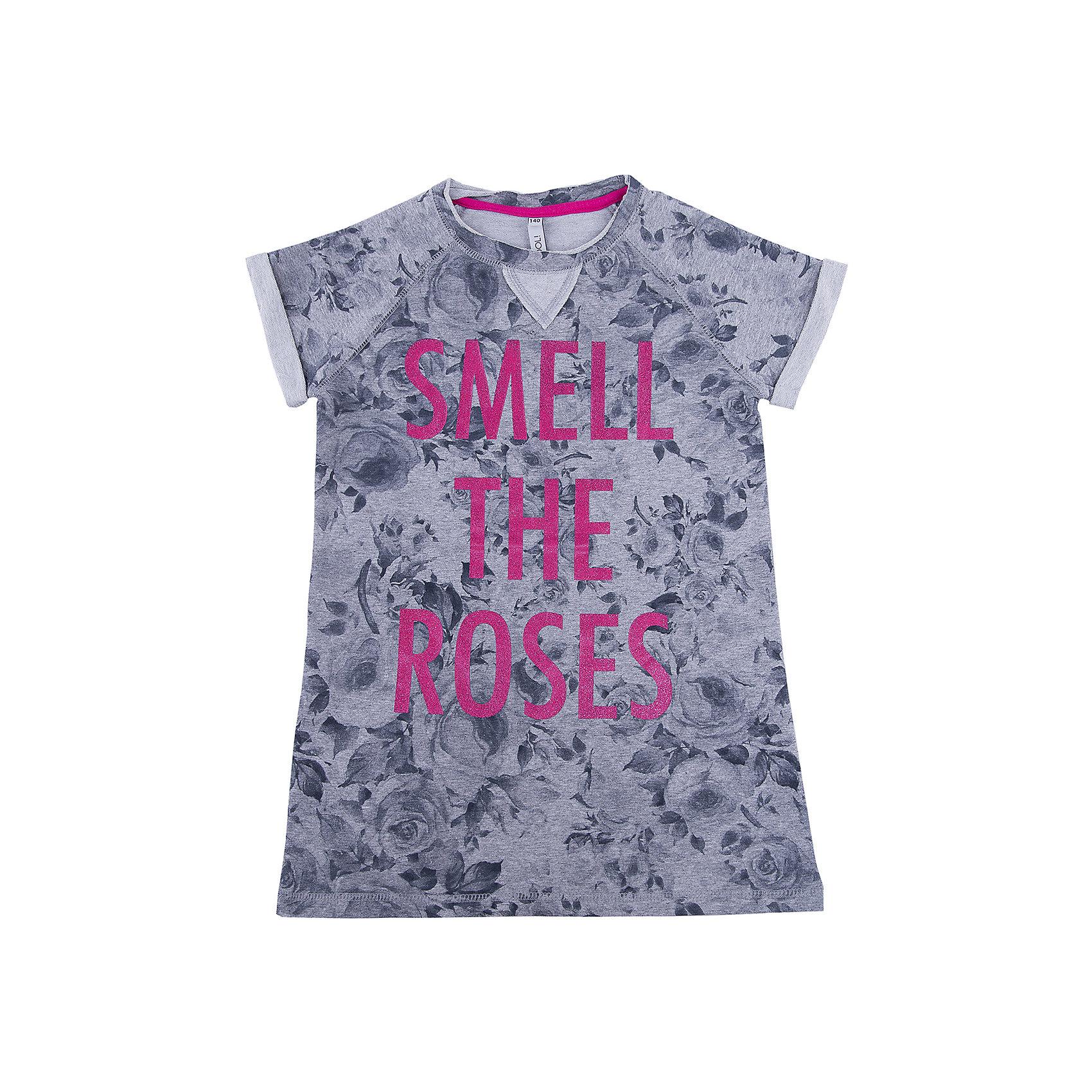 Платье для девочки ScoolПлатья и сарафаны<br>Платье для девочки Scool – укороченная летняя модель.<br>Серое платье с розами отлично подойдет под джинсы или легинсы, как туника. Треугольник в воротничке создает эффект многослойности. Платье с короткими «закатанными» рукавами, закрывающими плечи, идеально для жаркой погоды. Надпись не тускнеет от машинной стирки.<br><br>Дополнительная информация:<br><br>- материал: 80% хлопок, 15% полиэстер, 5% эластан<br>- цвет: серый<br><br>Платье для девочки Scool можно купить в нашем интернет магазине.<br><br>Ширина мм: 236<br>Глубина мм: 16<br>Высота мм: 184<br>Вес г: 177<br>Цвет: белый<br>Возраст от месяцев: 96<br>Возраст до месяцев: 108<br>Пол: Женский<br>Возраст: Детский<br>Размер: 134,140,164,158,146,152<br>SKU: 4912039