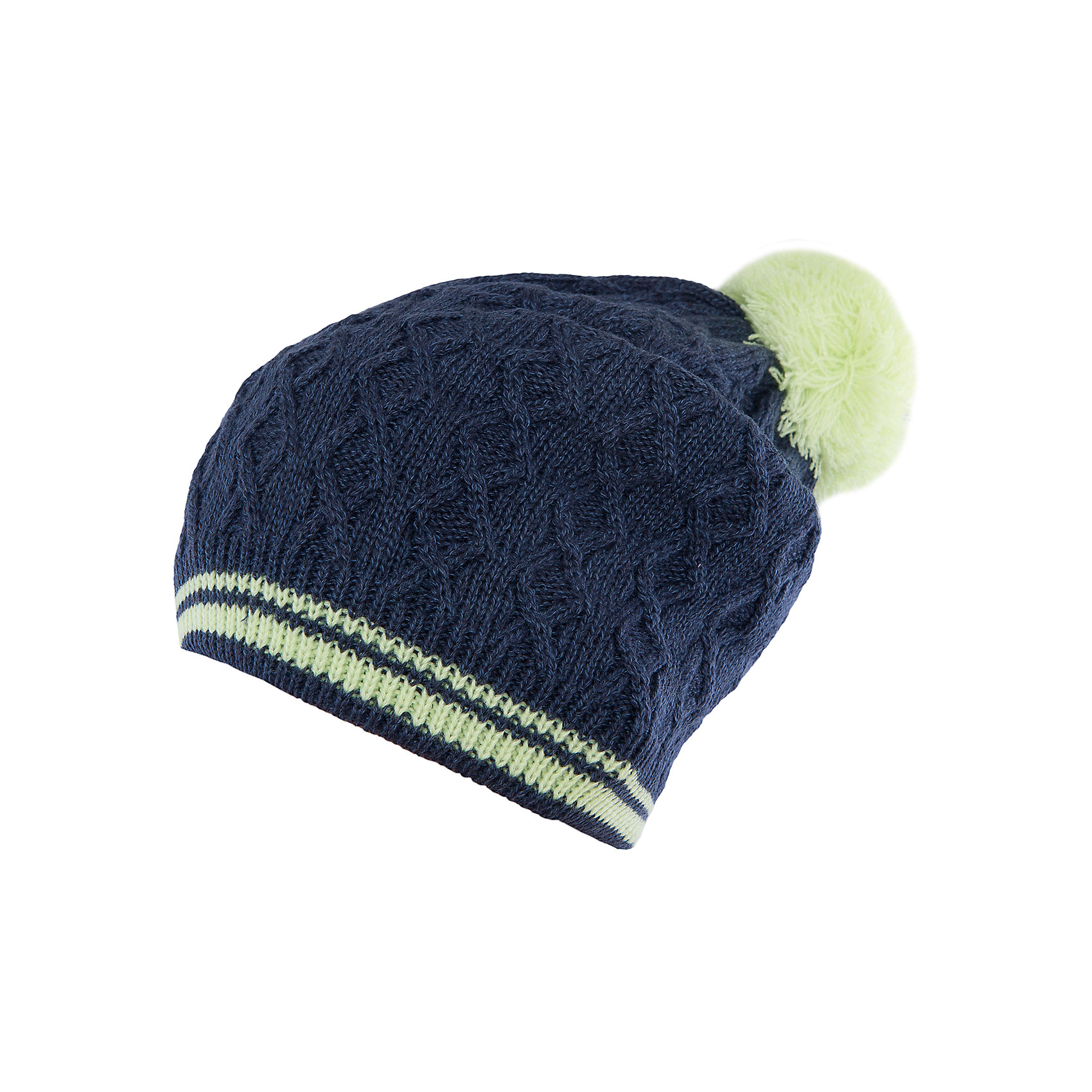 Шапка для девочки ScoolГоловные уборы<br>Характеристики:<br><br>• Вид одежды: шапка<br>• Пол: для девочки<br>• Сезон: демисезонная (до -5 градусов)<br>• Материал: акрил – 100% <br>• Цвет: темно-синий<br>• Особенности ухода: ручная стирка без применения отбеливающих средств<br><br>Scool – это линейка детской одежды и обуви, которая предназначена как для повседневности, так и для праздников. Большинство моделей выполнены в классическом стиле, сочетающем в себе традиции с яркими стильными элементами и аксессуарами. Весь ассортимент одежды и обуви Scool сочетается между собой по стилю и цветовому решению, поэтому Вам будет легко сформировать гардероб вашего ребенка, который отражает его индивидуальность. <br>Шапка для девочки Scool выполнена из двухслойного трикотажа, который вывязан акрилом. Изделие имеет фактурную вязку, выполнено в темно-синем цвете, имеются яркие элементы: помпон лимонного цвета и двойная полоска на резинке. Шапка легка в уходе, благодаря акриловым ниткам она хорошо держит форму, не скатывается и не изменяет цвет. Шапка для девочки Scool, – это идеальный вариант для прохладной осенне-весенней погоды!<br><br>Шапку для девочки Scool, можно купить в нашем интернет-магазине.<br><br>Ширина мм: 89<br>Глубина мм: 117<br>Высота мм: 44<br>Вес г: 155<br>Цвет: разноцветный<br>Возраст от месяцев: 72<br>Возраст до месяцев: 84<br>Пол: Женский<br>Возраст: Детский<br>Размер: 54,56<br>SKU: 4912111