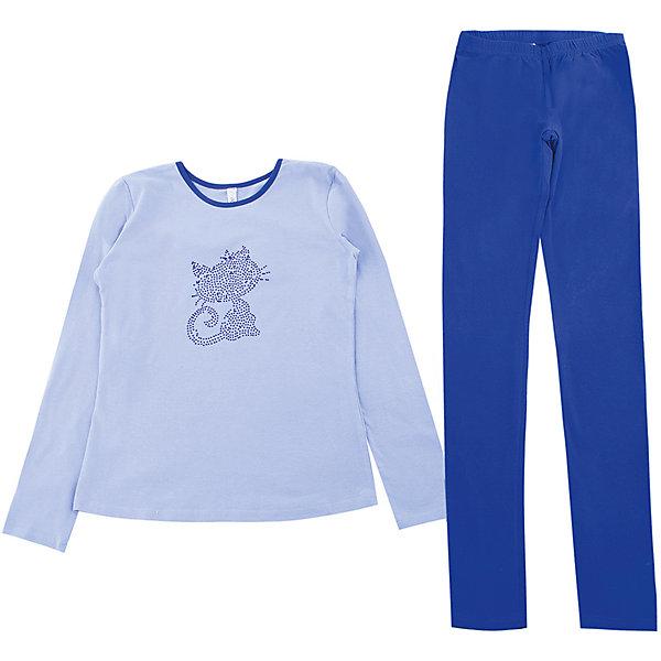 Комплект: футболка с длинным рукавом и брюки для девочки ScoolКомплекты<br>Комплект: футболка с длинным рукавом и брюки для девочки Scool подойдет для дома или улицы.<br>Хлопковая кофточка позволит в прохладную летнюю погоду чувствовать себя комфортно. Синие штаны-легинсы держатся на резинке, хорошо тянутся и не сковывают движения. В таком комплекте будет удобно бегать, прыгать и вести активную жизнь. Футболка украшена стразами.<br><br>Дополнительная информация:<br><br>- материал: 95% хлопок, 5% эластан<br>- цвет: синий<br><br>Комплект: футболка с длинным рукавом и брюки для девочки Scool можно купить в нашем интернет магазине.<br><br>Ширина мм: 215<br>Глубина мм: 88<br>Высота мм: 191<br>Вес г: 336<br>Цвет: синий<br>Возраст от месяцев: 108<br>Возраст до месяцев: 120<br>Пол: Женский<br>Возраст: Детский<br>Размер: 140,134,146,158,164,152<br>SKU: 4912165