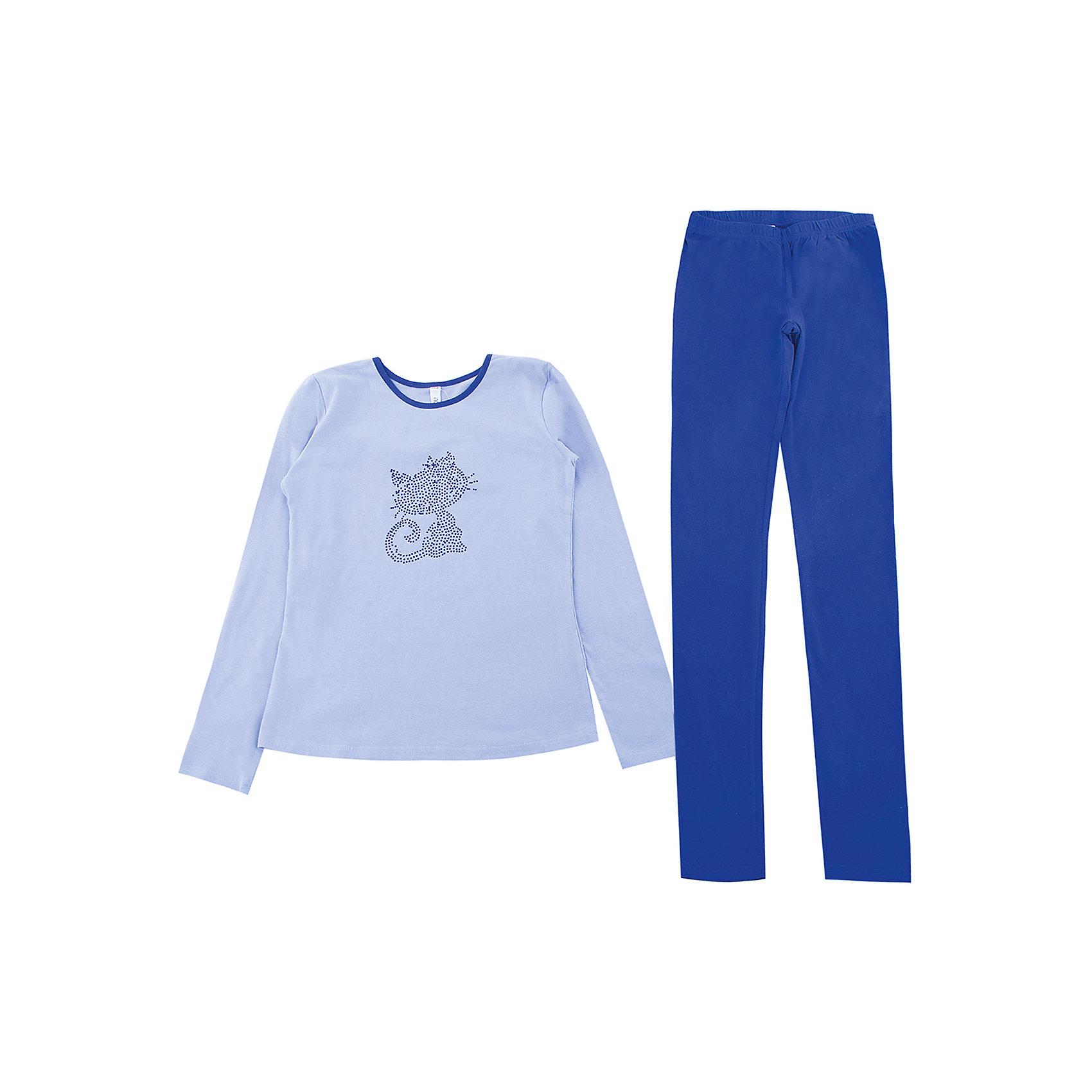 Комплект: футболка с длинным рукавом и брюки для девочки ScoolКомплекты<br>Комплект: футболка с длинным рукавом и брюки для девочки Scool подойдет для дома или улицы.<br>Хлопковая кофточка позволит в прохладную летнюю погоду чувствовать себя комфортно. Синие штаны-легинсы держатся на резинке, хорошо тянутся и не сковывают движения. В таком комплекте будет удобно бегать, прыгать и вести активную жизнь. Футболка украшена стразами.<br><br>Дополнительная информация:<br><br>- материал: 95% хлопок, 5% эластан<br>- цвет: синий<br><br>Комплект: футболка с длинным рукавом и брюки для девочки Scool можно купить в нашем интернет магазине.<br><br>Ширина мм: 215<br>Глубина мм: 88<br>Высота мм: 191<br>Вес г: 336<br>Цвет: синий<br>Возраст от месяцев: 96<br>Возраст до месяцев: 108<br>Пол: Женский<br>Возраст: Детский<br>Размер: 134,140,152,164,158,146<br>SKU: 4912165