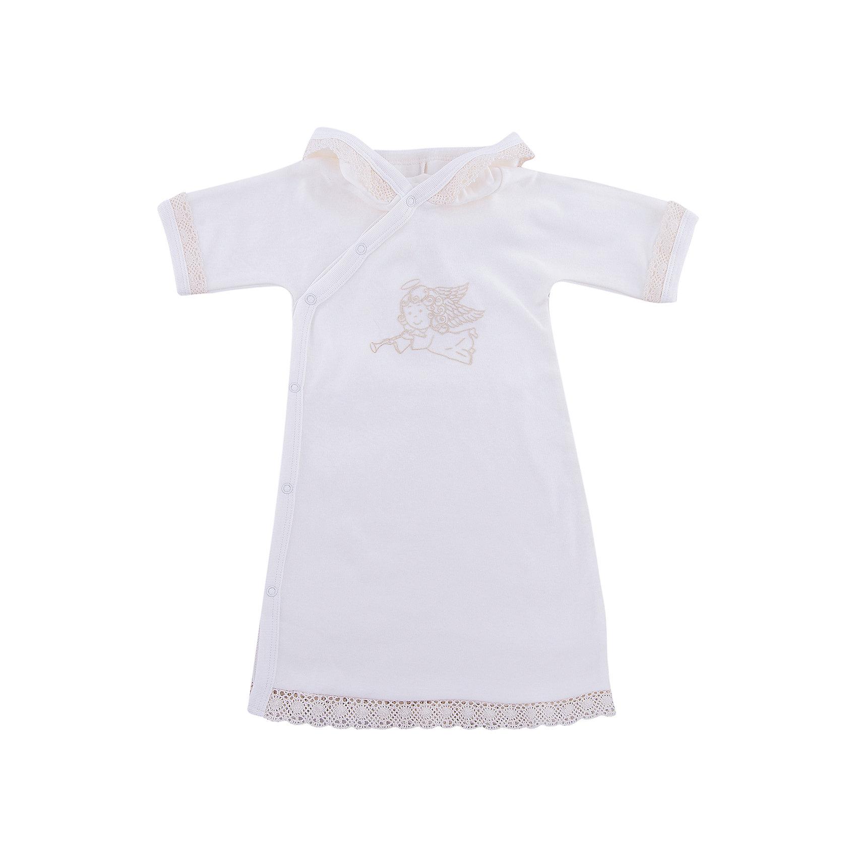 Крестильная рубашка с тесьмой, р-р 68, NewBorn, белыйХарактеристики:<br><br>• Вид детской одежды: рубашка<br>• Предназначение: для крещения<br>• Коллекция: NewBorn<br>• Сезон: круглый год<br>• Пол: для мальчика<br>• Тематика рисунка: ангелы<br>• Размер: 68<br>• Цвет: белый, золотистый<br>• Материал: трикотаж, хлопок<br>• Длина рукава: короткие<br>• Застежка: сзади на кнопке<br>• Декорирована широкой тесьмой золотистого цвета<br>• Передняя полочка украшена термонаклейкой в виде ангела и тесьмой<br>• Особенности ухода: допускается деликатная стирка без использования красящих и отбеливающих средств<br><br>Крестильная рубашка с тесьмой, р-р 68, NewBorn, белый из коллекции NewBorn от отечественного швейного производства ТексПром предназначено для создания праздничного образа мальчика во время торжественного обряда крещения. Рубашка представлена в коллекции NewBorn, которая сочетает в себе классические и современные тенденции в мире моды для новорожденных, при этом при технологии изготовления детской одежды сохраняются самые лучшие традиции: свободный крой, внешние швы и натуральные ткани. Рубашка с короткими рукавами и круглой горловиной, обработанной бейкой из трикотажа золотистого цвета. Застежка на кнопках предусмотрена на спинке, что обеспечивает ее легкое одевание. Праздничный образ создается за счет отделки рукавов, и передней полочки широким кружевом золотистого цвета и термонаклейки в виде ангела. <br><br>Крестильную рубашку с тесьмой, р-р 68, NewBorn, белый можно купить в нашем интернет-магазине.<br><br>Ширина мм: 220<br>Глубина мм: 5<br>Высота мм: 400<br>Вес г: 200<br>Возраст от месяцев: 3<br>Возраст до месяцев: 6<br>Пол: Унисекс<br>Возраст: Детский<br>SKU: 4912511