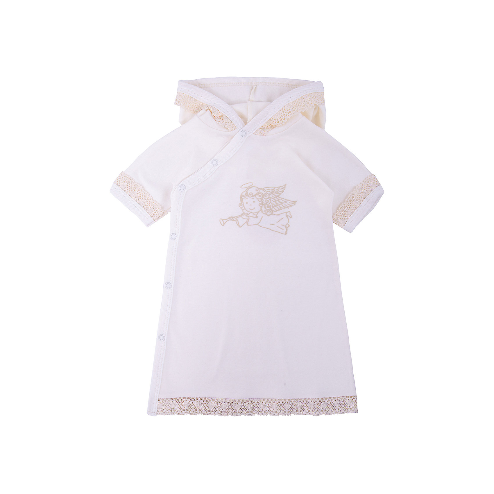 Крестильное платье с капюшоном, тесьма, р-р 62, NewBorn, белыйНаборы одежды, конверты на выписку<br>Характеристики:<br><br>• Вид детской одежды: платье с капюшоном<br>• Предназначение: для крещения<br>• Коллекция: NewBorn<br>• Сезон: круглый год<br>• Пол: для девочки<br>• Тематика рисунка: ангелы<br>• Размер: 62<br>• Цвет: белый, золотистый<br>• Материал: трикотаж, хлопок<br>• Длина рукава: короткие<br>• Запах: спереди<br>• Застежка: спереди на кнопке<br>• Наличие капюшона<br>• Декорировано широкой тесьмой из шитья <br>• Передняя полочка украшена термонаклейкой в виде ангела<br>• Особенности ухода: допускается деликатная стирка без использования красящих и отбеливающих средств<br><br>Крестильное платье с капюшоном, тесьма, р-р 62, NewBorn, белый из коллекции NewBorn от отечественного швейного производства ТексПром предназначено для создания праздничного образа девочки во время торжественного обряда крещения. Платье представлено в коллекции NewBorn, которая сочетает в себе классические и современные тенденции в мире моды для новорожденных, при этом при технологии изготовления детской одежды сохраняются самые лучшие традиции: свободный крой, внешние швы и натуральные ткани. Платье с короткими рукавами и капюшоном выполнено из трикотажа, все края обработаны трикотажной бейкой золотистого цвета. Изделие имеет передний запах с застежками на кнопках, что обеспечивает его легкое одевание. Праздничный образ создается за счет отделки рукавов, капюшона и низа платья широким кружевом золотистого цвета и термонаклейки на передней полочке в виде ангела. <br><br>Крестильное платье с капюшоном, тесьма, р-р 62, NewBorn, белый можно купить в нашем интернет-магазине.<br><br>Ширина мм: 220<br>Глубина мм: 5<br>Высота мм: 400<br>Вес г: 200<br>Возраст от месяцев: 0<br>Возраст до месяцев: 3<br>Пол: Женский<br>Возраст: Детский<br>SKU: 4912515