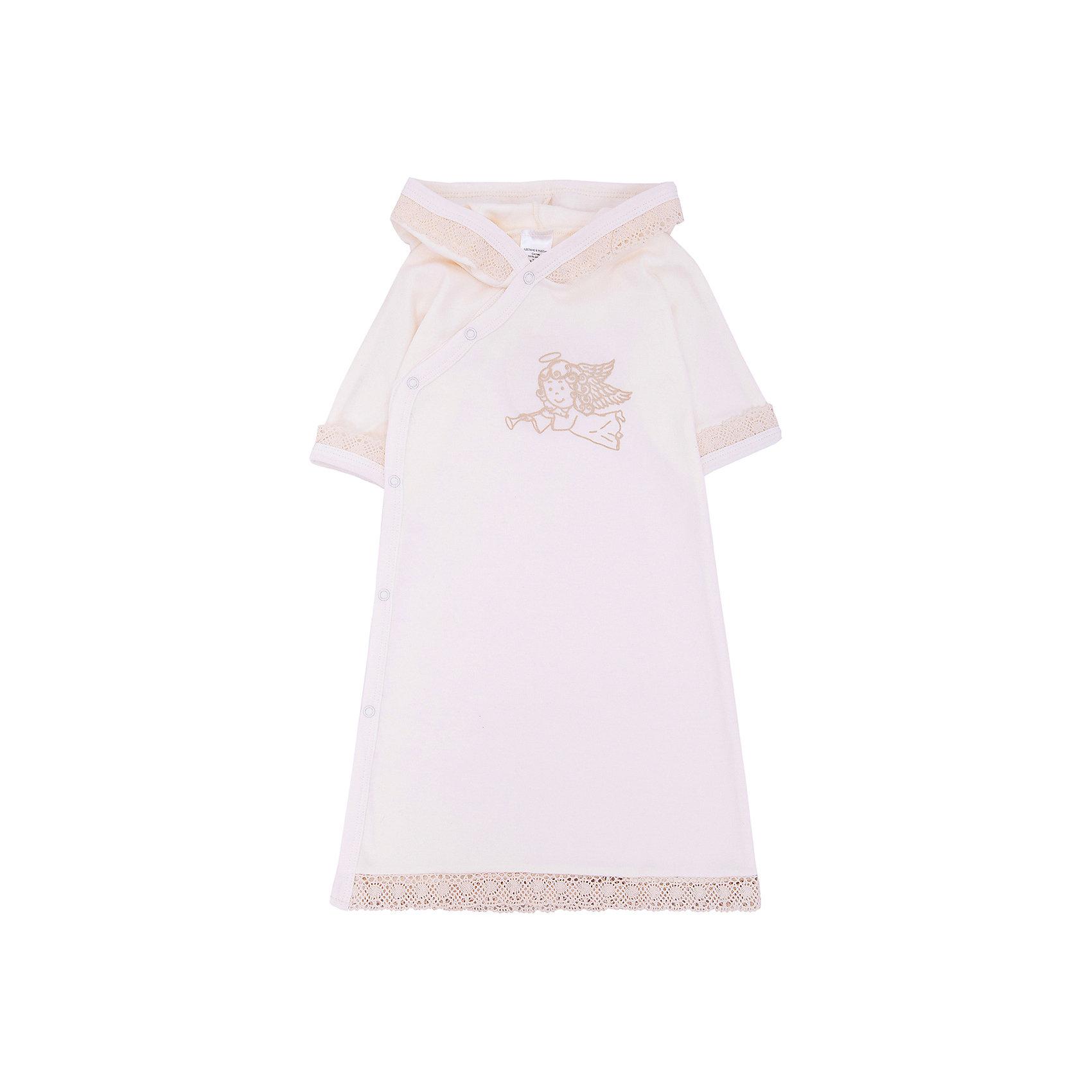 Крестильное платье с капюшоном, тесьма, р-р 74, NewBorn, белыйПлатья<br>Характеристики:<br><br>• Вид детской одежды: платье с капюшоном<br>• Предназначение: для крещения<br>• Коллекция: NewBorn<br>• Сезон: круглый год<br>• Пол: для девочки<br>• Тематика рисунка: ангелы<br>• Размер: 74<br>• Цвет: белый, золотистый<br>• Материал: трикотаж, хлопок<br>• Длина рукава: короткие<br>• Запах: спереди<br>• Застежка: спереди на кнопке<br>• Наличие капюшона<br>• Декорировано широкой тесьмой из шитья <br>• Передняя полочка украшена термонаклейкой в виде ангела<br>• Особенности ухода: допускается деликатная стирка без использования красящих и отбеливающих средств<br><br>Крестильное платье с капюшоном, тесьма, р-р 74, NewBorn, белый из коллекции NewBorn от отечественного швейного производства ТексПром предназначено для создания праздничного образа девочки во время торжественного обряда крещения. Платье представлено в коллекции NewBorn, которая сочетает в себе классические и современные тенденции в мире моды для новорожденных, при этом при технологии изготовления детской одежды сохраняются самые лучшие традиции: свободный крой, внешние швы и натуральные ткани. Платье с короткими рукавами и капюшоном выполнено из трикотажа, все края обработаны трикотажной бейкой золотистого цвета. Изделие имеет передний запах с застежками на кнопках, что обеспечивает его легкое одевание. Праздничный образ создается за счет отделки рукавов, капюшона и низа платья широким кружевом золотистого цвета и термонаклейки на передней полочке в виде ангела. <br><br>Крестильное платье с капюшоном, тесьма, р-р 74, NewBorn, белый можно купить в нашем интернет-магазине.<br><br>Ширина мм: 220<br>Глубина мм: 5<br>Высота мм: 400<br>Вес г: 200<br>Возраст от месяцев: 6<br>Возраст до месяцев: 9<br>Пол: Женский<br>Возраст: Детский<br>SKU: 4912517