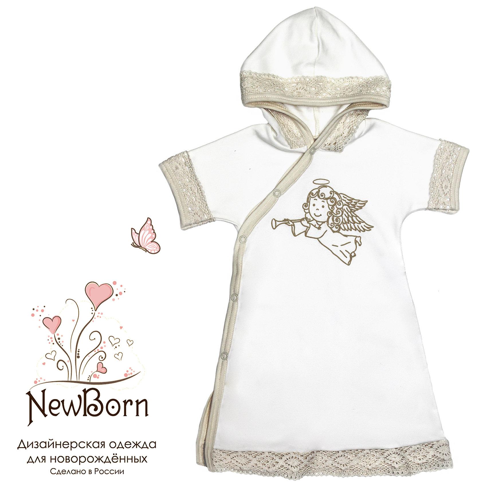 Крестильное платье с капюшоном, тесьма, р-р 80, NewBorn, белыйХарактеристики:<br><br>• Вид детской одежды: платье с капюшоном<br>• Предназначение: для крещения<br>• Коллекция: NewBorn<br>• Сезон: круглый год<br>• Пол: для девочки<br>• Тематика рисунка: ангелы<br>• Размер: 80<br>• Цвет: белый, золотистый<br>• Материал: трикотаж, хлопок<br>• Длина рукава: короткие<br>• Запах: спереди<br>• Застежка: спереди на кнопке<br>• Наличие капюшона<br>• Декорировано широкой тесьмой из шитья <br>• Передняя полочка украшена термонаклейкой в виде ангела<br>• Особенности ухода: допускается деликатная стирка без использования красящих и отбеливающих средств<br><br>Крестильное платье с капюшоном, тесьма, р-р 80, NewBorn, белый из коллекции NewBorn от отечественного швейного производства ТексПром предназначено для создания праздничного образа девочки во время торжественного обряда крещения. Платье представлено в коллекции NewBorn, которая сочетает в себе классические и современные тенденции в мире моды для новорожденных, при этом при технологии изготовления детской одежды сохраняются самые лучшие традиции: свободный крой, внешние швы и натуральные ткани. Платье с короткими рукавами и капюшоном выполнено из трикотажа, все края обработаны трикотажной бейкой золотистого цвета. Изделие имеет передний запах с застежками на кнопках, что обеспечивает его легкое одевание. Праздничный образ создается за счет отделки рукавов, капюшона и низа платья широким кружевом золотистого цвета и термонаклейки на передней полочке в виде ангела. <br><br>Крестильное платье с капюшоном, тесьма, р-р 80, NewBorn, белый можно купить в нашем интернет-магазине.<br><br>Ширина мм: 220<br>Глубина мм: 5<br>Высота мм: 400<br>Вес г: 200<br>Возраст от месяцев: 9<br>Возраст до месяцев: 12<br>Пол: Женский<br>Возраст: Детский<br>SKU: 4912518