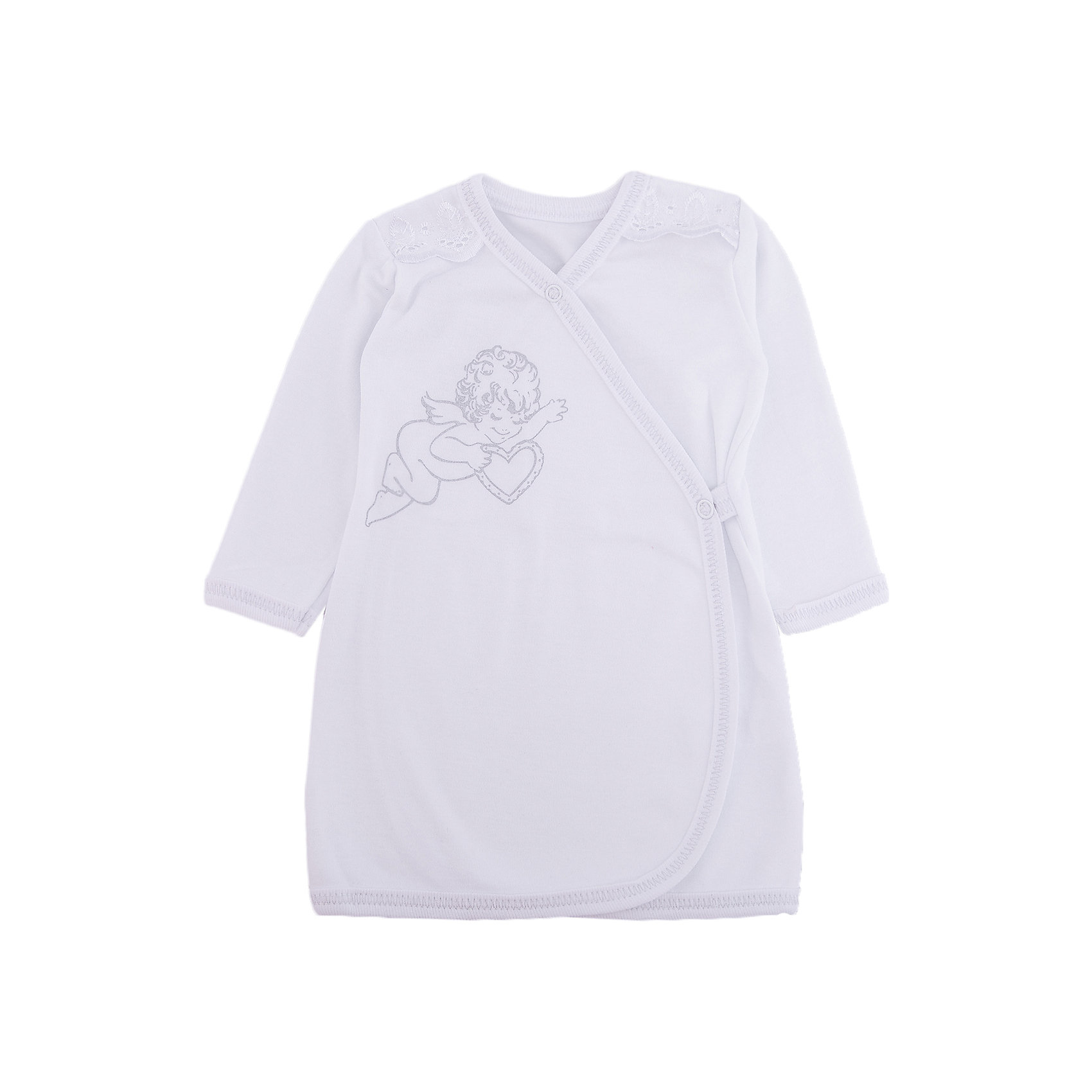 Крестильная рубашка с шитьем, р-р 62,  NewBorn, белыйНаборы одежды, конверты на выписку<br>Характеристики:<br><br>• Вид детской одежды: рубашка с запахом<br>• Предназначение: для крещения<br>• Коллекция: NewBorn<br>• Сезон: круглый год<br>• Пол: для мальчика<br>• Тематика рисунка: ангелы<br>• Размер: 62<br>• Цвет: белый<br>• Материал: трикотаж, хлопок<br>• Длина рукава: длинные<br>• Запах: спереди<br>• Застежка: спереди на кнопке<br>• Декорирована широкой тесьмой из шитья <br>• Передняя полочка украшена термонаклейкой в виде ангела<br>• Особенности ухода: допускается деликатная стирка без использования красящих и отбеливающих средств<br><br>Крестильная рубашка с шитьем, р-р 62, NewBorn, белый из коллекции NewBorn от отечественного швейного производства ТексПром предназначена для создания праздничного образа мальчика во время торжественного обряда крещения. Коллекция NewBorn сочетает в себе классические и современные тенденции в мире моды для новорожденных, при этом сохраняются самые лучшие традиции при технологии изготовления детской одежды: свободный крой, внешние швы и натуральные ткани.  Рубашка с длинными рукавами выполнена из трикотажа, все края которой обработаны трикотажной бейкой. Изделие имеет передний запах с застежкой на кнопке, что обеспечивает его легкое одевание. Праздничный образ создается за счет отделки из широкого шитья на плечиках и термонаклейки на передней полочке в виде ангела. <br><br>Крестильную рубашку с шитьем, р-р 62, NewBorn, белый можно купить в нашем интернет-магазине.<br><br>Ширина мм: 220<br>Глубина мм: 5<br>Высота мм: 400<br>Вес г: 200<br>Возраст от месяцев: 0<br>Возраст до месяцев: 3<br>Пол: Мужской<br>Возраст: Детский<br>SKU: 4912524
