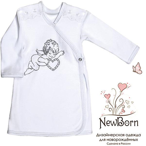 Крестильная рубашка с шитьем, р-р 68,  NewBorn, белыйПлатья<br>Характеристики:<br><br>• Вид детской одежды: рубашка с запахом<br>• Предназначение: для крещения<br>• Коллекция: NewBorn<br>• Сезон: круглый год<br>• Пол: для мальчика<br>• Тематика рисунка: ангелы<br>• Размер: 68<br>• Цвет: белый<br>• Материал: трикотаж, хлопок<br>• Длина рукава: длинные<br>• Запах: спереди<br>• Застежка: спереди на кнопке<br>• Декорирована широкой тесьмой из шитья <br>• Передняя полочка украшена термонаклейкой в виде ангела<br>• Особенности ухода: допускается деликатная стирка без использования красящих и отбеливающих средств<br><br>Крестильная рубашка с шитьем, р-р 68, NewBorn, белый из коллекции NewBorn от отечественного швейного производства ТексПром предназначена для создания праздничного образа мальчика во время торжественного обряда крещения. Коллекция NewBorn сочетает в себе классические и современные тенденции в мире моды для новорожденных, при этом сохраняются самые лучшие традиции при технологии изготовления детской одежды: свободный крой, внешние швы и натуральные ткани.  Рубашка с длинными рукавами выполнена из трикотажа, все края которой обработаны трикотажной бейкой. Изделие имеет передний запах с застежкой на кнопке, что обеспечивает его легкое одевание. Праздничный образ создается за счет отделки из широкого шитья на плечиках и термонаклейки на передней полочке в виде ангела. <br><br>Крестильную рубашку с шитьем, р-р 68, NewBorn, белый можно купить в нашем интернет-магазине.<br><br>Ширина мм: 220<br>Глубина мм: 5<br>Высота мм: 400<br>Вес г: 200<br>Возраст от месяцев: 3<br>Возраст до месяцев: 6<br>Пол: Мужской<br>Возраст: Детский<br>SKU: 4912525