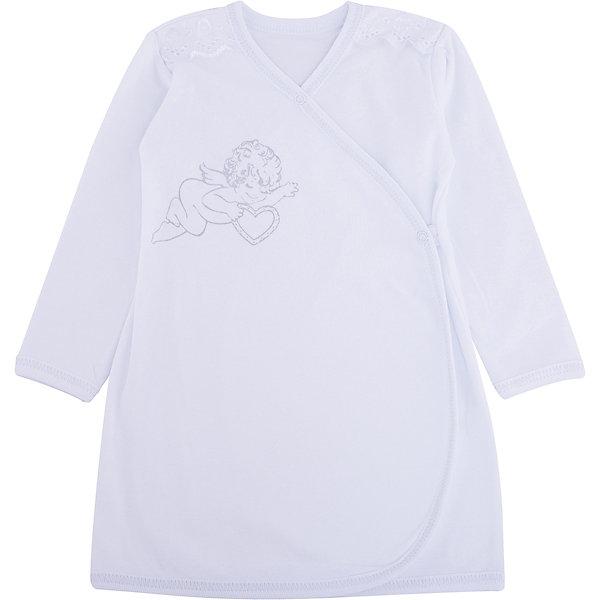 Крестильная рубашка с шитьем, р-р 80,  NewBorn, белыйПлатья<br>Характеристики:<br><br>• Вид детской одежды: рубашка с запахом<br>• Предназначение: для крещения<br>• Коллекция: NewBorn<br>• Сезон: круглый год<br>• Пол: для мальчика<br>• Тематика рисунка: ангелы<br>• Размер: 80<br>• Цвет: белый<br>• Материал: трикотаж, хлопок<br>• Длина рукава: длинные<br>• Запах: спереди<br>• Застежка: спереди на кнопке<br>• Декорирована широкой тесьмой из шитья <br>• Передняя полочка украшена термонаклейкой в виде ангела<br>• Особенности ухода: допускается деликатная стирка без использования красящих и отбеливающих средств<br><br>Крестильная рубашка с шитьем, р-р 80, NewBorn, белый из коллекции NewBorn от отечественного швейного производства ТексПром предназначена для создания праздничного образа мальчика во время торжественного обряда крещения. Коллекция NewBorn сочетает в себе классические и современные тенденции в мире моды для новорожденных, при этом сохраняются самые лучшие традиции при технологии изготовления детской одежды: свободный крой, внешние швы и натуральные ткани.  Рубашка с длинными рукавами выполнена из трикотажа, все края которой обработаны трикотажной бейкой. Изделие имеет передний запах с застежкой на кнопке, что обеспечивает его легкое одевание. Праздничный образ создается за счет отделки из широкого шитья на плечиках и термонаклейки на передней полочке в виде ангела. <br><br>Крестильную рубашку с шитьем, р-р 80, NewBorn, белый можно купить в нашем интернет-магазине.<br>Ширина мм: 220; Глубина мм: 5; Высота мм: 400; Вес г: 200; Возраст от месяцев: 9; Возраст до месяцев: 12; Пол: Мужской; Возраст: Детский; SKU: 4912527;