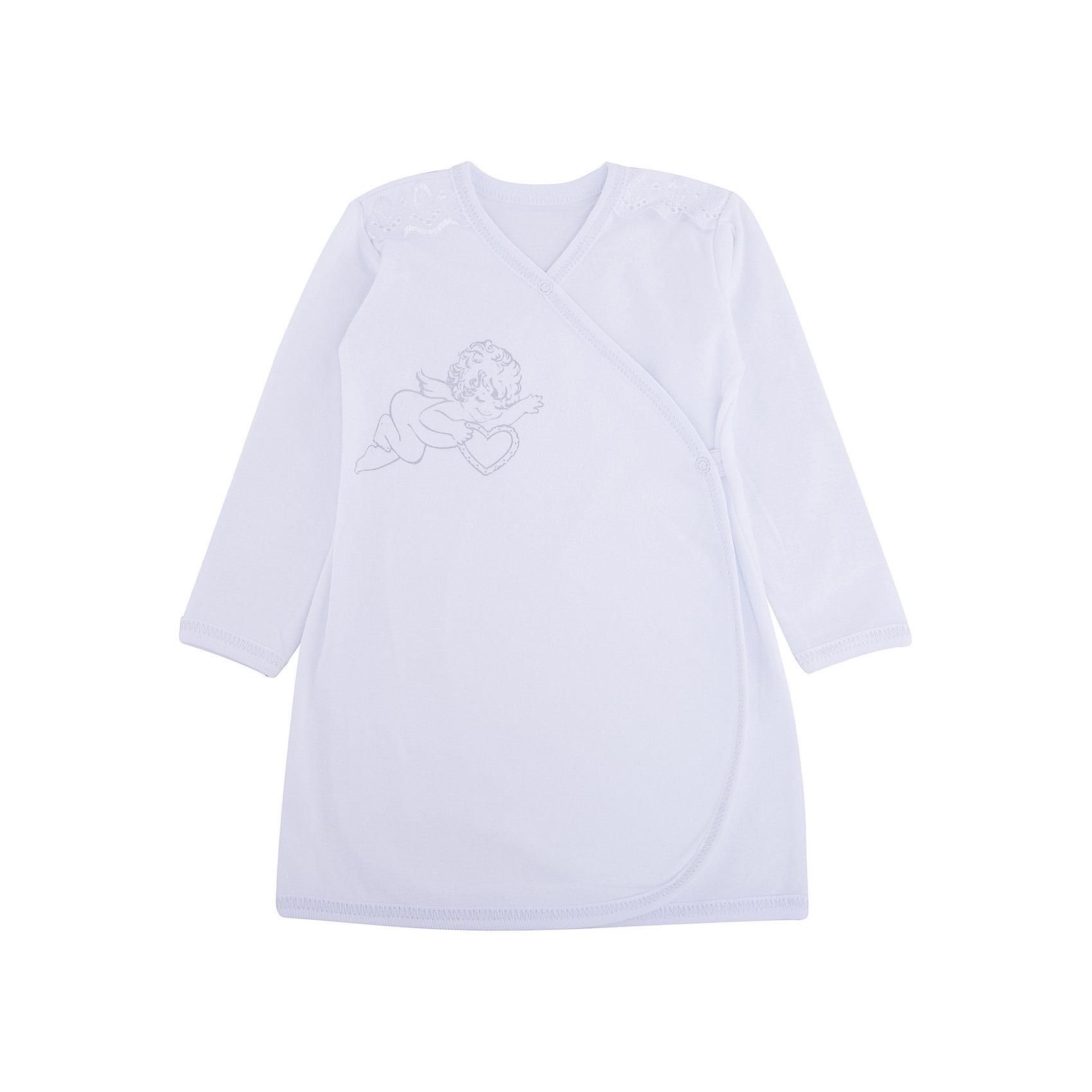 Крестильная рубашка с шитьем, р-р 80,  NewBorn, белыйПлатья<br>Характеристики:<br><br>• Вид детской одежды: рубашка с запахом<br>• Предназначение: для крещения<br>• Коллекция: NewBorn<br>• Сезон: круглый год<br>• Пол: для мальчика<br>• Тематика рисунка: ангелы<br>• Размер: 80<br>• Цвет: белый<br>• Материал: трикотаж, хлопок<br>• Длина рукава: длинные<br>• Запах: спереди<br>• Застежка: спереди на кнопке<br>• Декорирована широкой тесьмой из шитья <br>• Передняя полочка украшена термонаклейкой в виде ангела<br>• Особенности ухода: допускается деликатная стирка без использования красящих и отбеливающих средств<br><br>Крестильная рубашка с шитьем, р-р 80, NewBorn, белый из коллекции NewBorn от отечественного швейного производства ТексПром предназначена для создания праздничного образа мальчика во время торжественного обряда крещения. Коллекция NewBorn сочетает в себе классические и современные тенденции в мире моды для новорожденных, при этом сохраняются самые лучшие традиции при технологии изготовления детской одежды: свободный крой, внешние швы и натуральные ткани.  Рубашка с длинными рукавами выполнена из трикотажа, все края которой обработаны трикотажной бейкой. Изделие имеет передний запах с застежкой на кнопке, что обеспечивает его легкое одевание. Праздничный образ создается за счет отделки из широкого шитья на плечиках и термонаклейки на передней полочке в виде ангела. <br><br>Крестильную рубашку с шитьем, р-р 80, NewBorn, белый можно купить в нашем интернет-магазине.<br><br>Ширина мм: 220<br>Глубина мм: 5<br>Высота мм: 400<br>Вес г: 200<br>Возраст от месяцев: 9<br>Возраст до месяцев: 12<br>Пол: Мужской<br>Возраст: Детский<br>SKU: 4912527