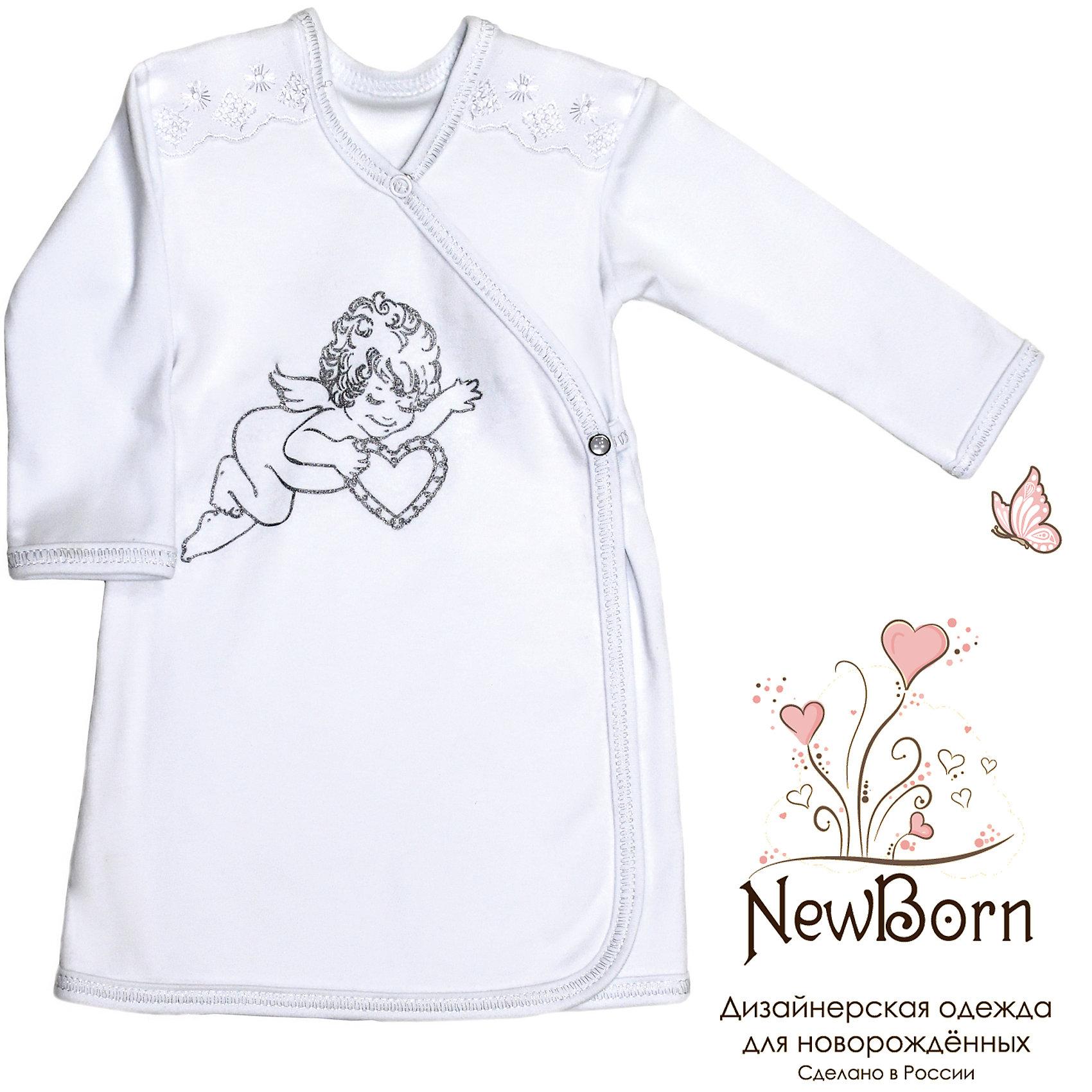Крестильная рубашка с шитьем, р-р 86,  NewBorn, белыйХарактеристики:<br><br>• Вид детской одежды: рубашка с запахом<br>• Предназначение: для крещения<br>• Коллекция: NewBorn<br>• Сезон: круглый год<br>• Пол: для мальчика<br>• Тематика рисунка: ангелы<br>• Размер: 86<br>• Цвет: белый<br>• Материал: трикотаж, хлопок<br>• Длина рукава: длинные<br>• Запах: спереди<br>• Застежка: спереди на кнопке<br>• Декорирована широкой тесьмой из шитья <br>• Передняя полочка украшена термонаклейкой в виде ангела<br>• Особенности ухода: допускается деликатная стирка без использования красящих и отбеливающих средств<br><br>Крестильная рубашка с шитьем, р-р 86, NewBorn, белый из коллекции NewBorn от отечественного швейного производства ТексПром предназначена для создания праздничного образа мальчика во время торжественного обряда крещения. Коллекция NewBorn сочетает в себе классические и современные тенденции в мире моды для новорожденных, при этом сохраняются самые лучшие традиции при технологии изготовления детской одежды: свободный крой, внешние швы и натуральные ткани.  Рубашка с длинными рукавами выполнена из трикотажа, все края которой обработаны трикотажной бейкой. Изделие имеет передний запах с застежкой на кнопке, что обеспечивает его легкое одевание . Праздничный образ создается за счет отделки из широкого шитья на плечиках и термонаклейки на передней полочке в виде ангела. <br><br>Крестильную рубашку с шитьем, р-р 86, NewBorn, белый можно купить в нашем интернет-магазине.<br><br>Ширина мм: 220<br>Глубина мм: 5<br>Высота мм: 400<br>Вес г: 200<br>Возраст от месяцев: 12<br>Возраст до месяцев: 18<br>Пол: Мужской<br>Возраст: Детский<br>SKU: 4912528