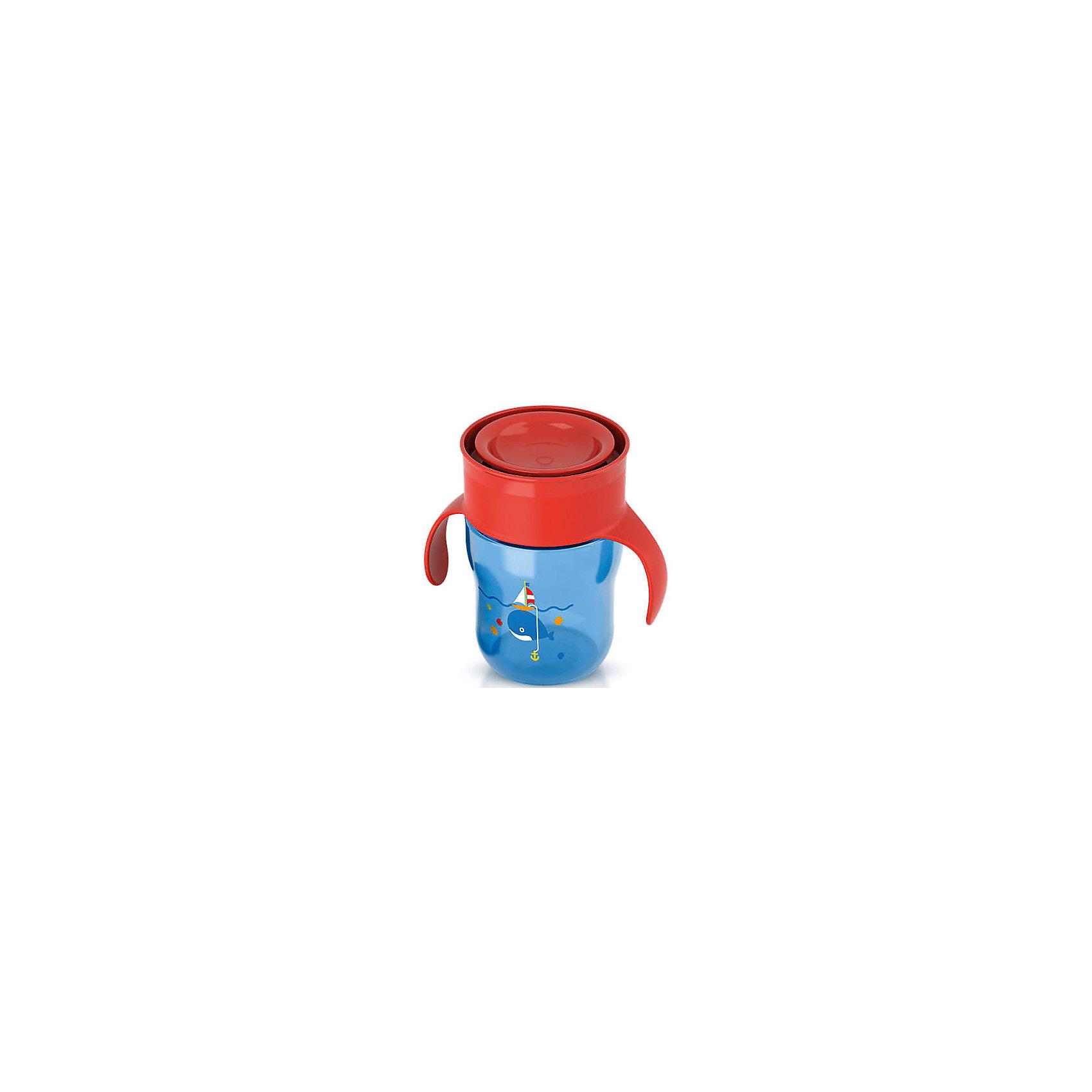 PHILIPS AVENT Чашка-поильник с ручками, с 12 мес., 260 мл., Philips Avent, синий/красный philips avent кружка поильник scf782 с 12 мес