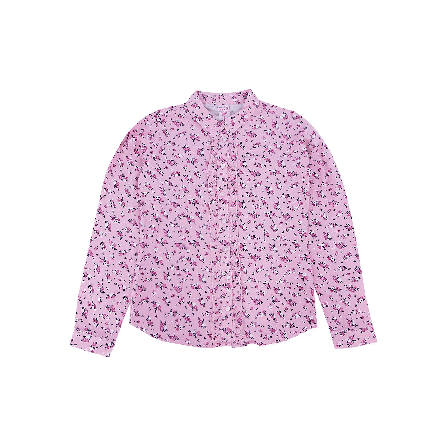Блузка для девочки SELAБлузки и рубашки<br>Одежда для детей от SELA - это качество и отличные цены. Блузка для девочки из новой коллекции придется по душе любому ребенку. Качественный натуральный материал сочетается с последними модными трендами. Стильный орнамент в нежный цветок делает блузку оригинальной и заметной даже без добавления аксессуаров. <br>Блузка отлично сидит по фигуре благодаря полуприлегающему крою. Универсальность модели позволит создать множество образов.  Все материалы, использованные в создании изделия,  отвечают современным требованиям по качеству и безопасности продукции. <br><br>Дополнительная информация:<br><br>цвет: розовый;<br>состав: 100% вискоза;<br>рукав длинный, с манжетом, силуэт полуприлегающий.<br><br>Блузку для девочки от компании SELA можно купить в нашем магазине.<br><br>Ширина мм: 186<br>Глубина мм: 87<br>Высота мм: 198<br>Вес г: 197<br>Цвет: розовый<br>Возраст от месяцев: 108<br>Возраст до месяцев: 120<br>Пол: Женский<br>Возраст: Детский<br>Размер: 140,116,146,134,128,152,122<br>SKU: 4912901