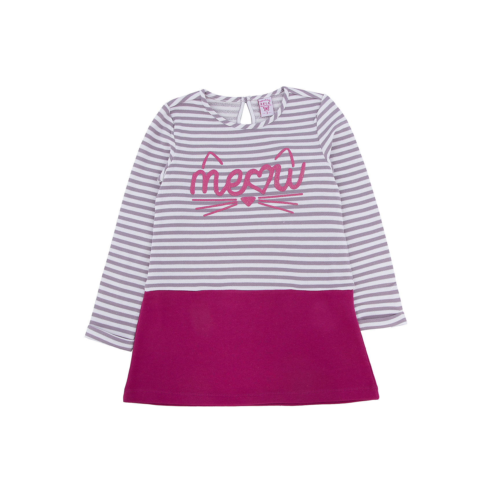 Платье для девочки SELAОдежда от SELA для детей - это качественные модные вещи по привлекательным ценам. Данная модель относится к коллекции нового сезона, она учитывает последние тренды в моде, поэтому смотрится стильно, с ней можно создать множество ансамблей.<br>Это симпатичное платье украшено принтом с блестками. Рукава - длинные, силуэт прямой, длина до колен. Интересно смотрится благодаря комбинированию разных тканей. Сзади застегивается на пуговицу. Изделие сшито из тщательно подобранных материалов, абсолютно безопасных для ребенка.<br><br>Дополнительная информация:<br><br>цвет: разноцветный;<br>состав:  верх - 65% хлопок, 35% ПЭ, низ - 100% хлопок;<br>украшено принтом;<br>пуговица сзади;<br>рукава длинные.<br><br>Платье для девочки от компании SELA можно купить в нашем магазине.<br><br>Ширина мм: 236<br>Глубина мм: 16<br>Высота мм: 184<br>Вес г: 177<br>Цвет: белый<br>Возраст от месяцев: 60<br>Возраст до месяцев: 72<br>Пол: Женский<br>Возраст: Детский<br>Размер: 104,92,110,116,98<br>SKU: 4912994