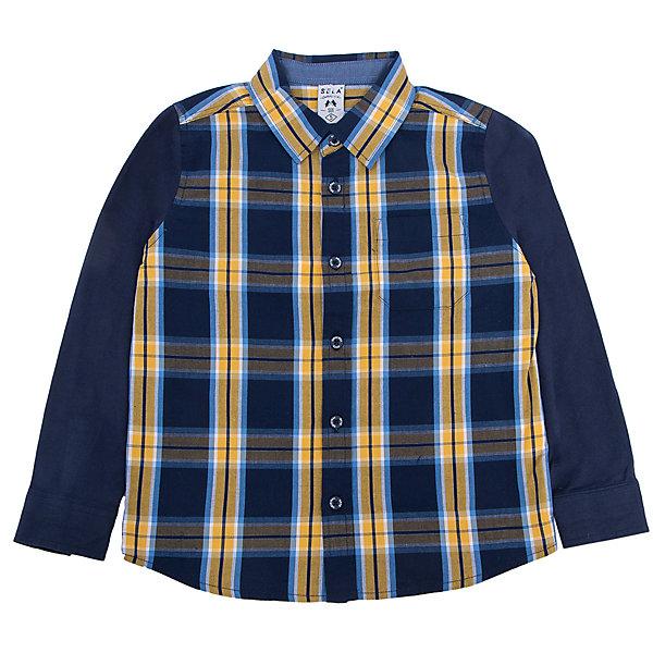 Рубашка для мальчика SELAБлузки и рубашки<br>Удобная рубашка - незаменимая вещь в гардеробе школьников. Эта модель отлично сидит на ребенке, она сделана из приятного на ощупь материала, мягкая и дышащая. Натуральный хлопок в составе ткани не вызывает аллергии и обеспечивает ребенку комфорт. Модель станет отличной базовой вещью, которая будет уместна в различных сочетаниях.<br>Одежда от бренда Sela (Села) - это качество по приемлемым ценам. Многие российские родители уже оценили преимущества продукции этой компании и всё чаще приобретают одежду и аксессуары Sela.<br><br>Дополнительная информация:<br><br>цвет: разноцветный;<br>материал: 100 % хлопок;<br>рукава длинные;<br>застежки - пуговицы.<br><br>Рубашку для мальчика от бренда Sela можно купить в нашем интернет-магазине.<br><br>Ширина мм: 174<br>Глубина мм: 10<br>Высота мм: 169<br>Вес г: 157<br>Цвет: синий<br>Возраст от месяцев: 18<br>Возраст до месяцев: 24<br>Пол: Мужской<br>Возраст: Детский<br>Размер: 92,110,98,116,104<br>SKU: 4913040
