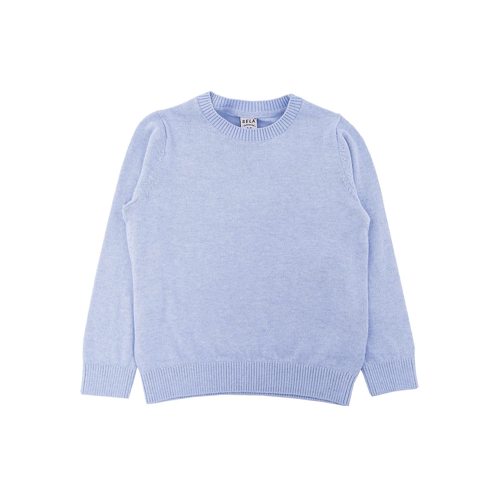Джемпер для мальчика SELAСвитера и кардиганы<br>Детская одежда от SELA - это качество и отличные цены. Джемпер для мальчика из новой коллекции – необходимая вещь, чтобы выглядеть стильно в новом сезоне. Модель выполнена в классическом базовом стиле, что позволят комбинировать джемпер с любыми вещами и для любого случая. В изделии использована шерсть, которая делает модель не только модной, но и теплой. У джемпера на горле и рукавах есть уплотненные резинки.<br>Все материалы, использованные в создании изделия,  отвечают современным стандартам по качеству и безопасности продукции.<br><br>Дополнительная информация:<br><br>цвет: светло-голубой;<br>состав:  60% хлопок, 10% шерсть, 30% нейлон;<br>длинный рукав;<br>силуэт прямой.<br><br>Джемпер для мальчика от компании SELA можно приобрести в нашем магазине.<br><br>Ширина мм: 190<br>Глубина мм: 74<br>Высота мм: 229<br>Вес г: 236<br>Цвет: голубой<br>Возраст от месяцев: 18<br>Возраст до месяцев: 24<br>Пол: Мужской<br>Возраст: Детский<br>Размер: 92,98,104,116,110<br>SKU: 4913132