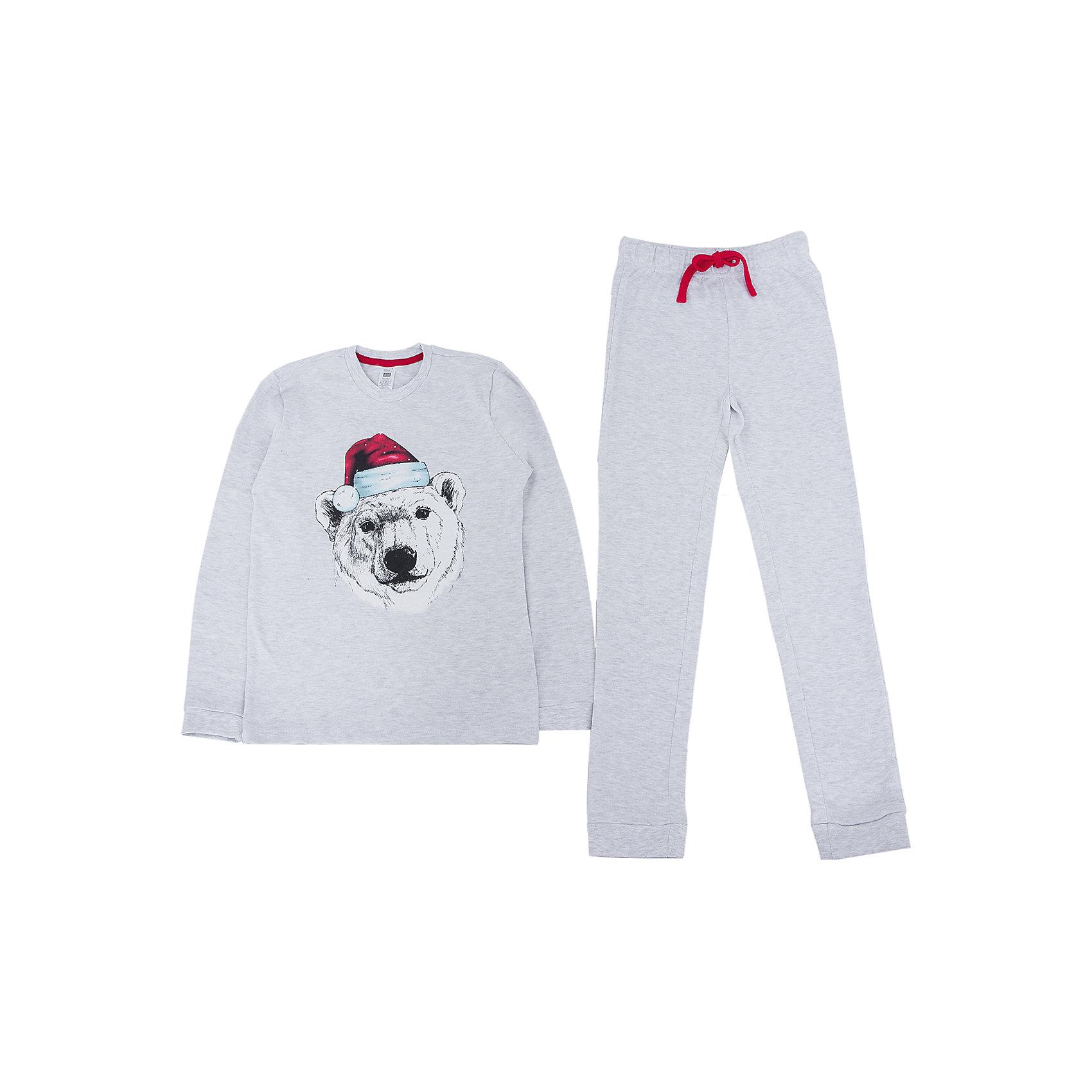 Пижама для мальчика SELAПижама для мальчика из коллекции осень-зима 2016-2017 от известного бренда SELA. Стильная светло-серая хлопковая пижама с длинным рукавом и длинными штанами позволяет коже дышать. В комплект входят кофта с резинками на манжетах и штаны в тон, также с резинками на манжетах. На штанах имеется практичный красный шнурок, позволяющий контролировать эластичную резинку. Яркий принт с белым медведем наполняет мыслями о Новогодних праздниках и зимнем веселье.<br> <br>Дополнительная информация:<br>- в комплект входят: кофта и штаны <br><br>Состав: 93% хлопок 7% ПЭ <br><br>Пижаму для мальчиков Sela можно купить в нашем интернет-магазине.<br>.<br>Подробнее:<br>• Для детей в возрасте: от 6 до 12 лет<br>• Номер товара: 4913313<br>Страна производитель: Индия<br><br>Ширина мм: 281<br>Глубина мм: 70<br>Высота мм: 188<br>Вес г: 295<br>Цвет: серый<br>Возраст от месяцев: 24<br>Возраст до месяцев: 36<br>Пол: Мужской<br>Возраст: Детский<br>Размер: 92/98,104/110,116/122,128/134<br>SKU: 4913312