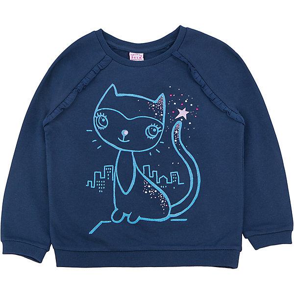 Толстовка для девочки SELAТолстовки<br>Тостовка для девочки из коллекции осень-зима 2016-2017 от известного бренда SELA. Удобный хлопковый джемпер на каждый день. Приятный темно-синий цвет и яркий рисунок кошки придут по вкусу модницам и любительницам животных. Джемпер отлично подойдет к юбкам и к джинсам.<br><br>Дополнительная информация:<br>- Длина: нормальная<br>- Рукав: длинный, реглан<br>- Силуэт: прямой<br>Состав: 100% хлопок <br><br>Джемпер для девочек Sela можно купить в нашем интернет-магазине.<br><br>Подробнее:<br>• Для детей в возрасте: от 2 до 6 лет<br>• Номер товара: 4913375<br>Страна производитель: Китай<br>Ширина мм: 190; Глубина мм: 74; Высота мм: 229; Вес г: 236; Цвет: синий; Возраст от месяцев: 36; Возраст до месяцев: 48; Пол: Женский; Возраст: Детский; Размер: 104,110,92,98,116; SKU: 4913374;