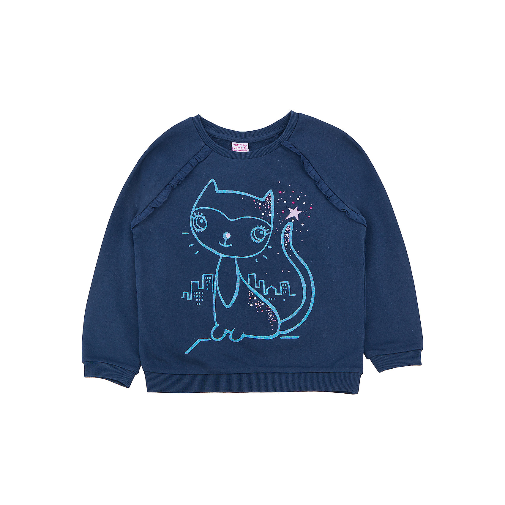 Толстовка для девочки SELAТолстовки<br>Тостовка для девочки из коллекции осень-зима 2016-2017 от известного бренда SELA. Удобный хлопковый джемпер на каждый день. Приятный темно-синий цвет и яркий рисунок кошки придут по вкусу модницам и любительницам животных. Джемпер отлично подойдет к юбкам и к джинсам.<br><br>Дополнительная информация:<br>- Длина: нормальная<br>- Рукав: длинный, реглан<br>- Силуэт: прямой<br>Состав: 100% хлопок <br><br>Джемпер для девочек Sela можно купить в нашем интернет-магазине.<br><br>Подробнее:<br>• Для детей в возрасте: от 2 до 6 лет<br>• Номер товара: 4913375<br>Страна производитель: Китай<br><br>Ширина мм: 190<br>Глубина мм: 74<br>Высота мм: 229<br>Вес г: 236<br>Цвет: синий<br>Возраст от месяцев: 18<br>Возраст до месяцев: 24<br>Пол: Женский<br>Возраст: Детский<br>Размер: 92,110,116,98,104<br>SKU: 4913374