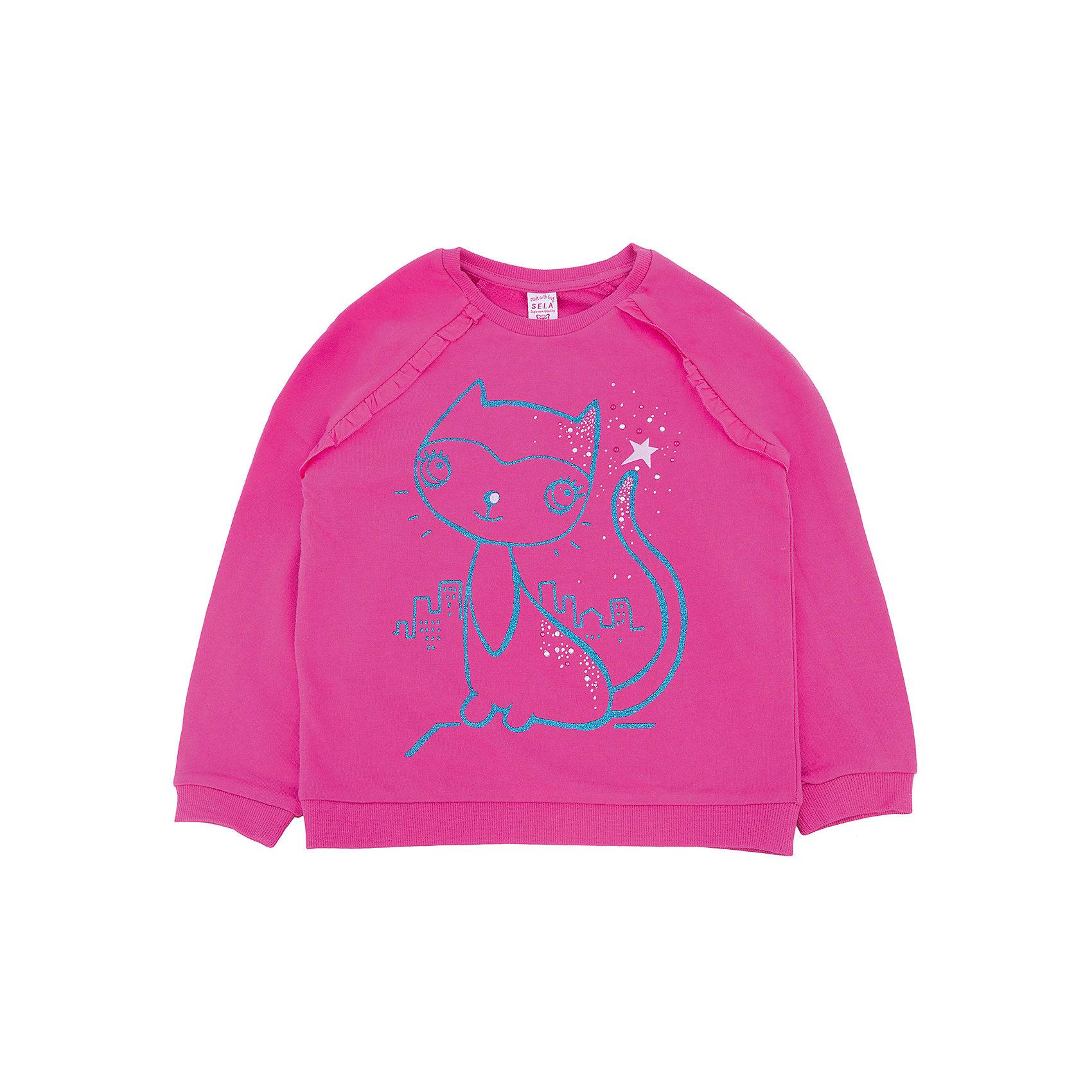 Толстовка для девочки SELAТолстовки<br>Толстовка для девочки из коллекции осень-зима 2016-2017 от известного бренда SELA. Удобный хлопковый джемпер на каждый день. Приятный цвет и яркий рисунок кошки придут по вкусу модницам и любительницам животных. Джемпер отлично подойдет к юбкам и к джинсам.<br><br>Дополнительная информация:<br>- Длина: нормальная<br>- Рукав: длинный, реглан<br>- Силуэт: прямой<br>Состав: 100% хлопок <br><br>Джемпер для девочек Sela можно купить в нашем интернет-магазине.<br><br>Подробнее:<br>• Для детей в возрасте: от 2 до 6 лет<br>• Номер товара: 4913381<br>Страна производитель: Китай<br><br>Ширина мм: 190<br>Глубина мм: 74<br>Высота мм: 229<br>Вес г: 236<br>Цвет: фиолетовый<br>Возраст от месяцев: 24<br>Возраст до месяцев: 36<br>Пол: Женский<br>Возраст: Детский<br>Размер: 98,116,104,110,92<br>SKU: 4913380