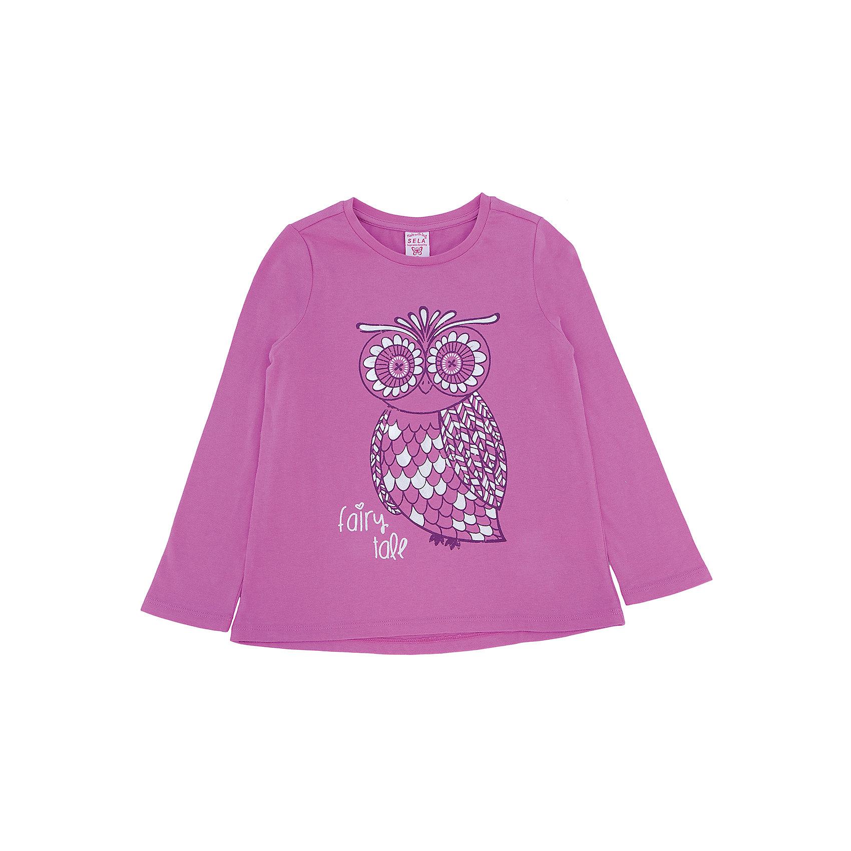Футболка с длинным рукавом для девочки SELAФутболки с длинным рукавом<br>Футболка с длинным рукавом для девочки из коллекции осень-зима 2016-2017 от известного бренда SELA. Удобный хлопковый джемпер на каждый день. Приятный розовый цвет и цветочный рисунок придут по вкусу модницам и любительницам цветов. Джемпер отлично подойдет к юбкам и к джинсам.<br><br>Дополнительная информация:<br>- Длина: нормальная<br>- Рукав: длинный<br>- Силуэт: прямой<br>Состав: 100% хлопок <br><br>Джемпер для девочек Sela можно купить в нашем интернет-магазине.<br><br>Подробнее:<br>• Для детей в возрасте: от 2 до 6 лет<br>• Номер товара: 4913421<br>Страна производитель: Китай<br><br>Ширина мм: 190<br>Глубина мм: 74<br>Высота мм: 229<br>Вес г: 236<br>Цвет: розовый<br>Возраст от месяцев: 24<br>Возраст до месяцев: 36<br>Пол: Женский<br>Возраст: Детский<br>Размер: 98,92,104,116,110<br>SKU: 4913420