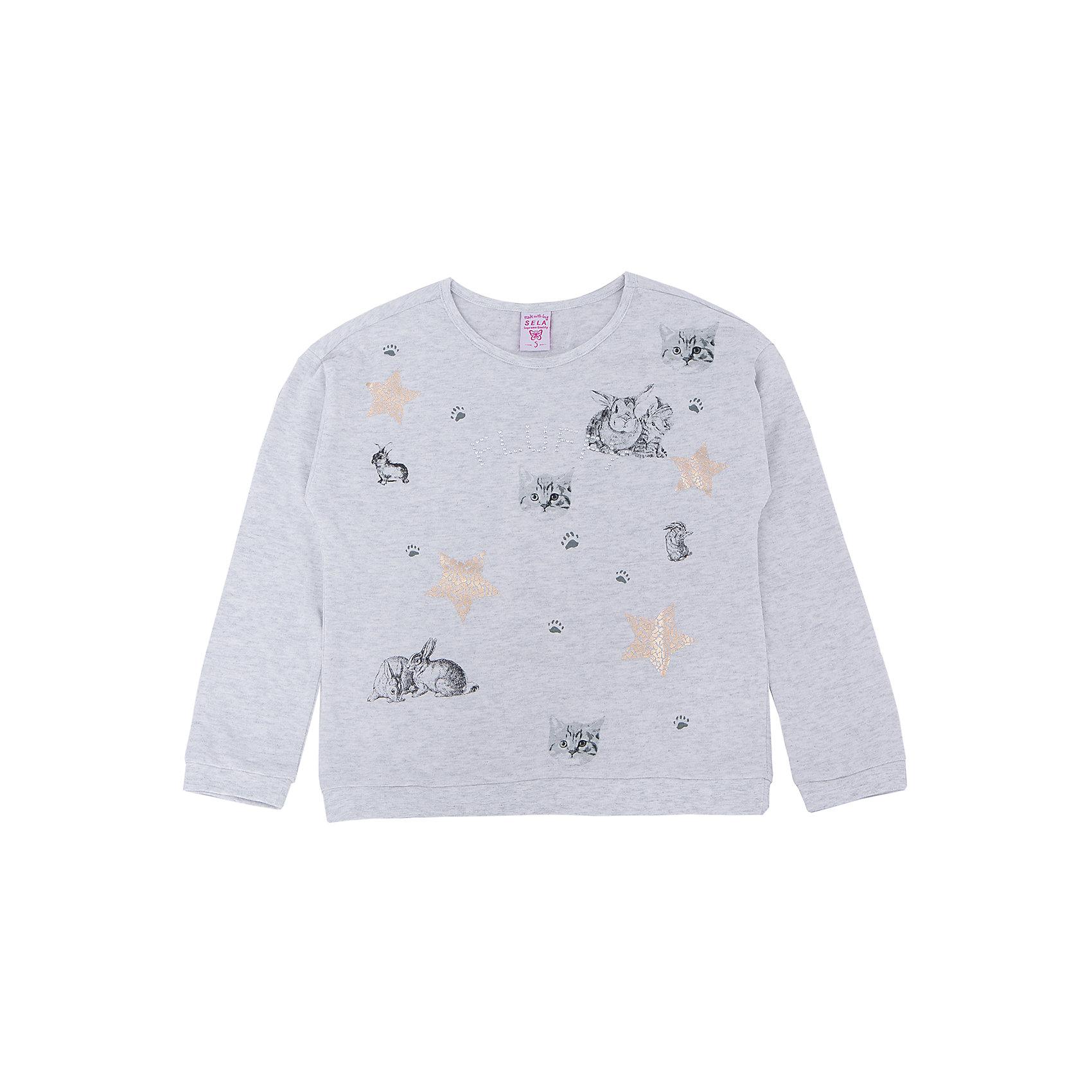 Толстовка для девочки SELAТолстовки<br>Толстовка  для девочки из коллекции осень-зима 2016-2017 от известного бренда SELA. Удобный хлопковый джемпер на каждый день. Приятный светло-серый цвет и рисунки кроликов и котят придут по вкусу модницам и любительницам животных. Джемпер отлично подойдет к юбкам и к джинсам.<br><br>Дополнительная информация:<br>- Длина: слегка укороченная<br>- Рукав: длинный, спущенное плечо<br>- Силуэт: прямой, свободный<br>Состав: 100% хлопок <br><br>Джемпер для девочек Sela можно купить в нашем интернет-магазине.<br><br>Подробнее:<br>• Для детей в возрасте: от 2 до 6 лет<br>• Номер товара: 4913439<br>Страна производитель: Китай<br><br>Ширина мм: 190<br>Глубина мм: 74<br>Высота мм: 229<br>Вес г: 236<br>Цвет: серый<br>Возраст от месяцев: 36<br>Возраст до месяцев: 48<br>Пол: Женский<br>Возраст: Детский<br>Размер: 104,116,110,92,98<br>SKU: 4913438