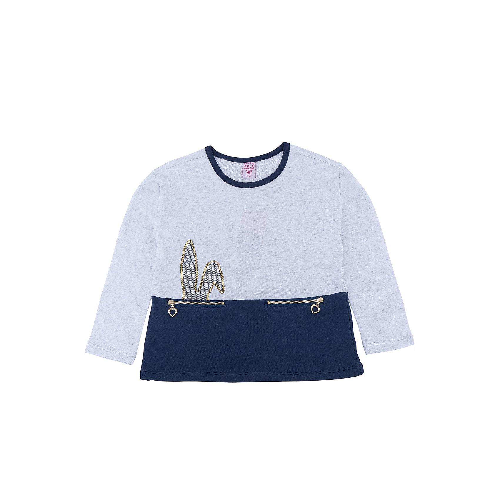 Футболка с длинным рукавом для девочкиФутболка с длинным рукавом для девочки из коллекции осень-зима 2016-2017 от известного бренда SELA. Удобный хлопковый джемпер на каждый день. Приятный светло-серый цвет в сочетании с темно-синим и кроличьими ушками из пайеток придут по вкусу модницам и любительницам животных. Джемпер отлично подойдет к юбкам и к джинсам.<br><br>Дополнительная информация:<br>- Длина: удлиненная<br>- Рукав: длинный<br>- Силуэт: прямой, слегка расширенный<br>Состав: 100% хлопок <br><br>Футболка с длинным рукавом для девочек Sela можно купить в нашем интернет-магазине.<br><br>Подробнее:<br>• Для детей в возрасте: от 2 до 6 лет<br>• Номер товара: 4913469<br>Страна производитель: Китай<br><br>Ширина мм: 190<br>Глубина мм: 74<br>Высота мм: 229<br>Вес г: 236<br>Цвет: серый<br>Возраст от месяцев: 24<br>Возраст до месяцев: 36<br>Пол: Женский<br>Возраст: Детский<br>Размер: 116,98,92,104,110<br>SKU: 4913468