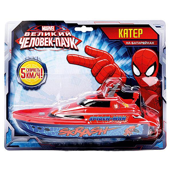 Катер, Человек-ПаукКорабли и лодки<br>Мальчишки любят супергероев, в том числе Человека-паука. Катер на батарейках выполненный в стиле этого героя обязательно порадует ребенка. Подобные игрушки развивают воображение, внимательность и мелкую моторику.<br>Этот катер понравится ребенку - он стильно выглядит и отлично скользит по воде! Игрушка сделана из качественных и безопасных для ребенка материалов. <br><br>Дополнительная информация:<br><br>цвет: разноцветный;<br>материал: пластик;<br>размер упаковки: 29 х 23 х 8 см;<br>работает от 2 батареек типа АА, в комплект не входят.<br><br>Катер, Человек-Паук, от компании Играем вместе можно купить в нашем магазине.<br><br>Ширина мм: 80<br>Глубина мм: 290<br>Высота мм: 230<br>Вес г: 230<br>Возраст от месяцев: 36<br>Возраст до месяцев: 60<br>Пол: Мужской<br>Возраст: Детский<br>SKU: 4913596