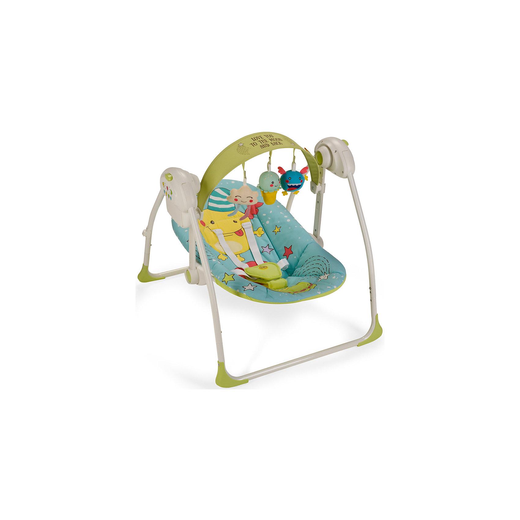 Электрокачели Jolly, Happy Baby, голубойКачели электронные<br>Электрокачели Jolly, Happy Baby, голубой – это прекрасный вариант для комфортного отдыха, игр и сна вашего малыша.<br>Электрокачели Jolly из коллекции MONSTER, напоминающие малышу среду, в которой он находился до рождения, помогут крохе быстрее адаптироваться к внешнему миру, а также станут отличным помощником матери в уходе за ребенком. В электрокачелях Jolly малышу будет уютно, тепло, безопасно и весело. Пятиточечные ремни безопасности надежно зафиксируют ребенка. Наклон спинки регулируется в 2 положениях. Таймер на 10, 20 и 30 минут даст маме время заниматься домашними делами, пока ваш ребенок качается на качелях. Три скорости укачивания позволят подобрать оптимальный вариант в зависимости от того, спит малыш или бодрствует. Восемь мелодий с возможностью регулировки громкости и съемная регулируемая дуга с игрушками не дадут ребенку скучать. Качели работают от батареек или от сети через адаптер.<br><br>Дополнительная информация:<br><br>- Возраст: 0+<br>- Максимальный вес ребенка: 9кг.<br>- Цвет: голубой<br>- 5-точечные ремни безопасности<br>- Наклон кресла: 2 положения<br>- Съемная регулируемая по наклону и высоте дуга со съемными игрушками<br>- 3 скорости качания<br>- 8 мелодий с возможностью регулирования громкости<br>- Установка таймера со светодиодной подсветкой на 10, 20 и 30 минут<br>- Возможность работы от батареек (требуется 4 батарейки типа С) и от адаптера<br>- Легко складываются<br>- Материал: каркас - пластик, металл; тканые материалы - 100% полиэстер<br>- Размер в разложенном виде: 68х64х57 см.<br>- Размер в сложенном виде: 26х64х63 см.<br>- Вес в упаковке:4,7 кг.<br><br>Электрокачели Jolly, Happy Baby, голубые можно купить в нашем интернет-магазине.<br><br>Ширина мм: 140<br>Глубина мм: 400<br>Высота мм: 620<br>Вес г: 4770<br>Цвет: голубой<br>Возраст от месяцев: 0<br>Возраст до месяцев: 6<br>Пол: Унисекс<br>Возраст: Детский<br>SKU: 4914551