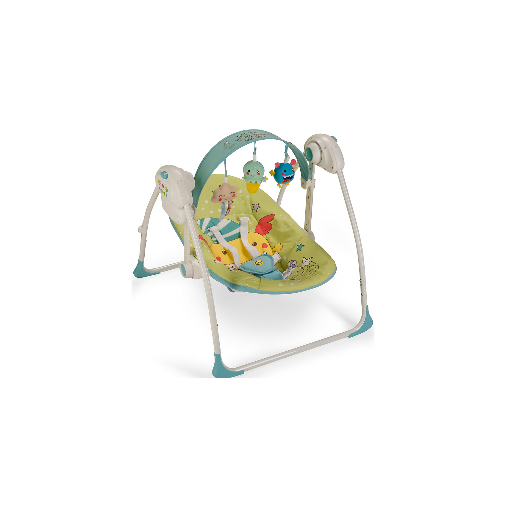 Электрокачели Jolly, Happy Baby, зеленыйКачели электронные<br>Электрокачели Jolly, Happy Baby, зеленый – это прекрасный вариант для комфортного отдыха, игр и сна вашего малыша.<br>Электрокачели Jolly из коллекции MONSTER, напоминающие малышу среду, в которой он находился до рождения, помогут крохе быстрее адаптироваться к внешнему миру, а также станут отличным помощником матери в уходе за ребенком. В электрокачелях Jolly малышу будет уютно, тепло, безопасно и весело. Пятиточечные ремни безопасности надежно зафиксируют ребенка. Наклон спинки регулируется в 2 положениях. Таймер на 10, 20 и 30 минут даст маме время заниматься домашними делами, пока ваш ребенок качается на качелях. Три скорости укачивания позволят подобрать оптимальный вариант в зависимости от того, спит малыш или бодрствует. Восемь мелодий с возможностью регулировки громкости и съемная регулируемая дуга с игрушками не дадут ребенку скучать. Качели работают от батареек или от сети через адаптер.<br><br>Дополнительная информация:<br><br>- Возраст: 0+<br>- Максимальный вес ребенка: 9кг.<br>- Цвет: зеленый<br>- 5-точечные ремни безопасности<br>- Наклон кресла: 2 положения<br>- Съемная регулируемая по наклону и высоте дуга со съемными игрушками<br>- 3 скорости качания<br>- 8 мелодий с возможностью регулирования громкости<br>- Установка таймера со светодиодной подсветкой на 10, 20 и 30 минут<br>- Возможность работы от батареек (требуется 4 батарейки типа С) и от адаптера<br>- Легко складываются<br>- Материал: каркас - пластик, металл; тканые материалы - 100% полиэстер<br>- Размер в разложенном виде: 68х64х57 см.<br>- Размер в сложенном виде: 26х64х63 см.<br>- Вес в упаковке:4,7 кг.<br><br>Электрокачели Jolly, Happy Baby, зеленые можно купить в нашем интернет-магазине.<br><br>Ширина мм: 140<br>Глубина мм: 400<br>Высота мм: 620<br>Вес г: 4770<br>Цвет: зеленый<br>Возраст от месяцев: 0<br>Возраст до месяцев: 6<br>Пол: Унисекс<br>Возраст: Детский<br>SKU: 4914552