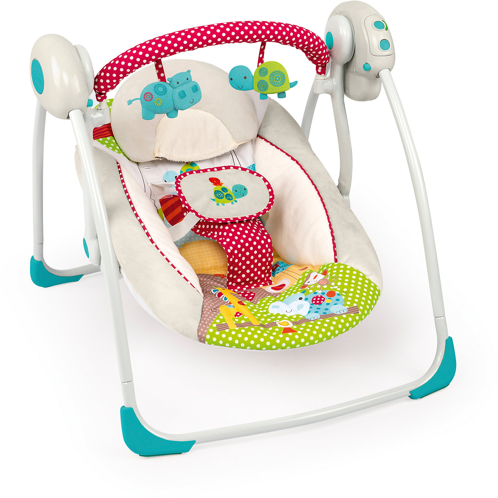 Качели Добрые друзьяКачели электронные<br>Комфортное укачивание, забавный дизайн и веселые игрушки! <br><br>Особенности<br>Технология TrueSpeed* обеспечивает выбор 6-ти скоростей по мере роста ребенка<br>2-х позиционное сиденье с технологией Comfort Recline<br>6 мелодий, регулировка громкости и автоматическое отключение<br>Съемная перекладина с 2-мя забавными игрушками легко поворачивается для быстрого доступа к ребенку<br>Таймер с 3-мя режимами: 15, 30 и 45 минут<br><br>Дополнительные характеристики<br>5-ти точечный ремень безопасности<br><br>Ширина мм: 558<br>Глубина мм: 362<br>Высота мм: 127<br>Вес г: 4620<br>Возраст от месяцев: 0<br>Возраст до месяцев: 6<br>Пол: Унисекс<br>Возраст: Детский<br>SKU: 4915049