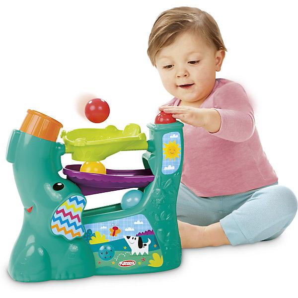Новый весёлый слоник, PLAYSKOOLИнтерактивные игрушки для малышей<br>Веселый слоник 3.0 помогает детям разваивать навыки наблюдения за предметами, так как дети с восторгом следят за тем как шарик катится по желобкам. Мама может переключать 4 различных режима игры, меняя направление хобота. Под напором воздуха шарики непредсказуемо вылетают, а ребенок двигается за ними. Шарики надежно хранятся внутри, есть удобная ручка для переноски, компактный дизайн - удобно хранить.<br>Ширина мм: 130; Глубина мм: 300; Высота мм: 240; Вес г: 743; Возраст от месяцев: 6; Возраст до месяцев: 36; Пол: Унисекс; Возраст: Детский; SKU: 4915060;