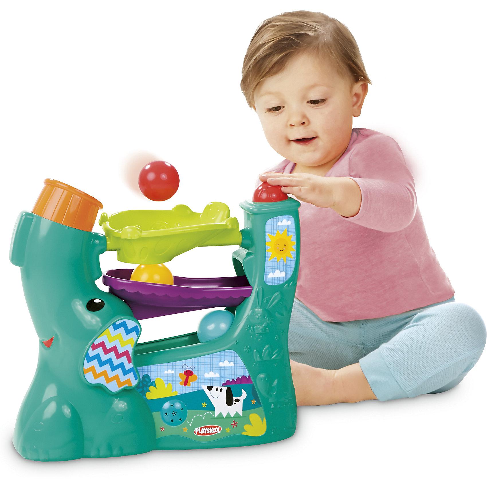 Новый весёлый слоник, PLAYSKOOLРазвивающие игрушки<br>Веселый слоник 3.0 помогает детям разваивать навыки наблюдения за предметами, так как дети с восторгом следят за тем как шарик катится по желобкам. Мама может переключать 4 различных режима игры, меняя направление хобота. Под напором воздуха шарики непредсказуемо вылетают, а ребенок двигается за ними. Шарики надежно хранятся внутри, есть удобная ручка для переноски, компактный дизайн - удобно хранить.<br><br>Ширина мм: 130<br>Глубина мм: 300<br>Высота мм: 240<br>Вес г: 743<br>Возраст от месяцев: 6<br>Возраст до месяцев: 36<br>Пол: Унисекс<br>Возраст: Детский<br>SKU: 4915060