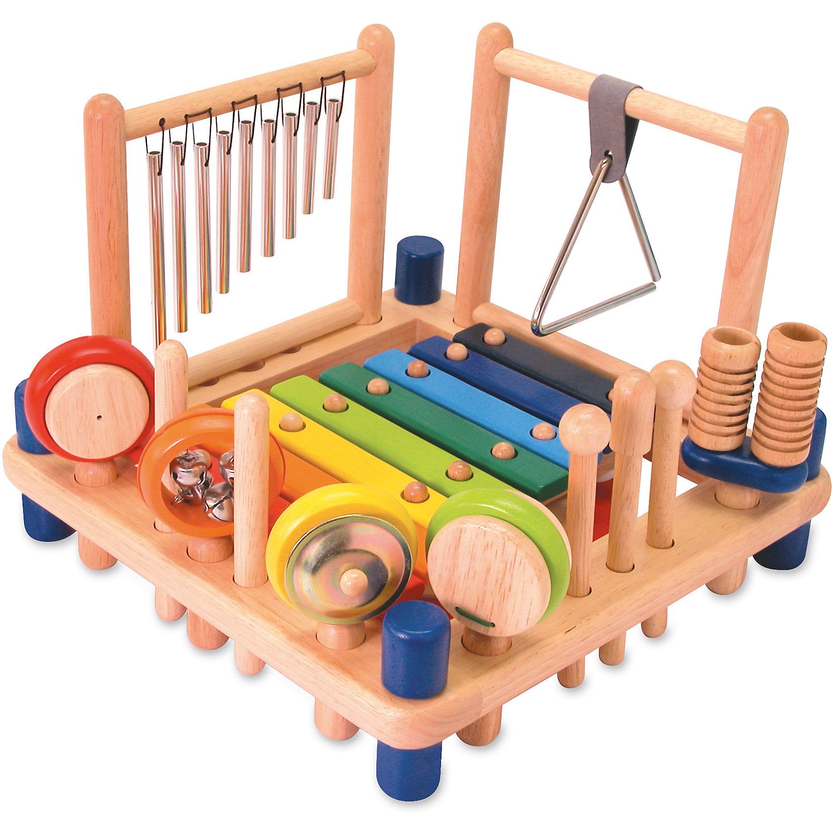 Развивающий набор Музыкальные инструменты, IM TOYДеревянные музыкальные игрушки<br>Многие дети обожают играть на музыкальных инструментах. Сделать это занятие веселее поможет набор из качественных деревянных инструментов. Они сделаны из прочного и гладкого китайского клена - он абсолютно безопасен для детей и тщательно обработан. Музыкальные инструменты закреплены на двусторонней станине, где есть ксилофон, барабан и съемные рамка с треугольником, куранты, маракасы, бубенчики, литавры, кастаньеты, коробочки и палочки. С этим набором могут играть могут сразу несколько человек - можно собрать свою группу или маленький оркестр!<br>Такой набор обязательно порадует ребенка! Игра с ним помогает детям развивать музыкальный слух. Набор сделан из качественных и безопасных для ребенка материалов.<br><br>Дополнительная информация:<br><br>цвет: разноцветный;<br>размер станины: 33 х 33 см;<br>размер упаковки: 34 х 34 х 10 см;<br>комплектация:  ксилофон, барабан, цимбалы, маракасы, трещотка, кастаньеты, треугольник, металлические трубочки, 5 деревянных палочек, 8 деталей ножек стола;<br>материал: дерево.<br><br>Развивающий набор Музыкальные инструменты, IM TOY можно купить в нашем магазине.<br><br>Ширина мм: 250<br>Глубина мм: 330<br>Высота мм: 330<br>Вес г: 250<br>Возраст от месяцев: 36<br>Возраст до месяцев: 96<br>Пол: Мужской<br>Возраст: Детский<br>SKU: 4915069