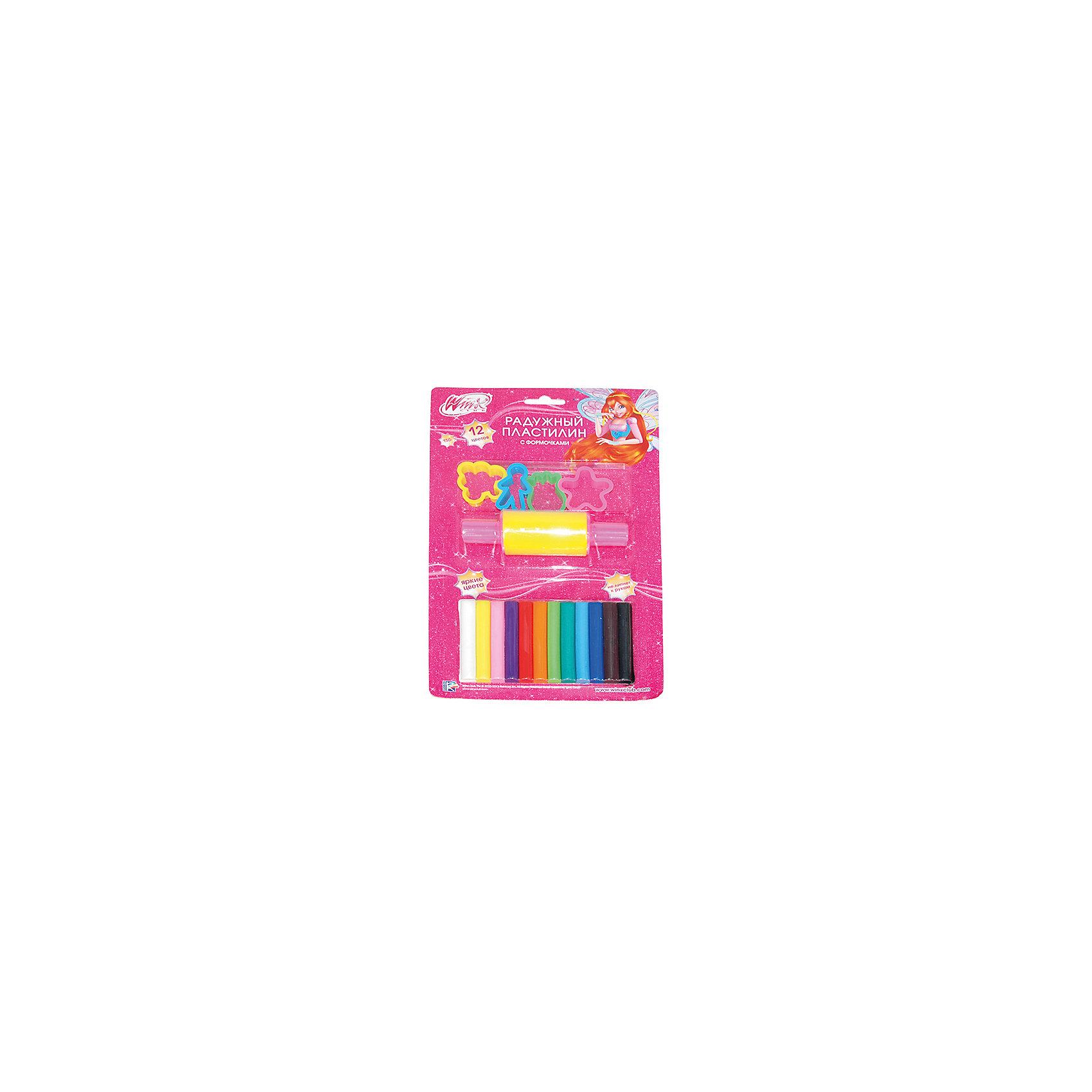Пластилин с формочками, Winx Club, 12 цветовWinx Club<br>Помимо яркого пластилина, в набор Winx Club входят формочки и скалка, чтобы лепить стало еще интереснее. Пластилин прекрасно подойдет и для опытных, и для начинающих скульпторов. Легко мнется и не оставляет следов.<br>Дополнительная информация:<br>-в наборе: радужный пластилин 12 цветов, 4 формочки, скалка<br>Сказочный персонаж: Winx Club<br>-вес: 240 грамм<br>-размер упаковки: 19х30х3 см<br>Пластилин с формочками Winx Club можно приобрести в нашем интернет-магазине.<br><br>Ширина мм: 30<br>Глубина мм: 300<br>Высота мм: 190<br>Вес г: 240<br>Возраст от месяцев: 36<br>Возраст до месяцев: 84<br>Пол: Женский<br>Возраст: Детский<br>SKU: 4915460
