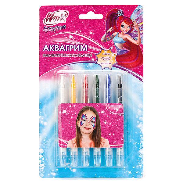 Аквагрим карандаши выдвижные, 6 цветов, Winx ClubWinx Club<br>Набор выдвижных карандашей для аквагрима позволит ребенку создать свой уникальный образ в стиле фей Винкс. Аквагрим не токсичен и легко смывается водой. Прекрасных выбор для самых ярких и творческих малышей!<br>Дополнительная информация:<br>-в наборе: карандаши 6 шт.(красный, желтый, зеленый, синий, белый, черный)<br>Сказочный персонаж: Winx Club<br>-вес: 80 грамм<br>-размер упаковки: 21х14х2 см<br>Набор выдвижных карандашей для аквагрима Winx Club вы можете купить в нашем интернет-магазине.<br>Ширина мм: 20; Глубина мм: 230; Высота мм: 140; Вес г: 80; Возраст от месяцев: 36; Возраст до месяцев: 84; Пол: Женский; Возраст: Детский; SKU: 4915480;