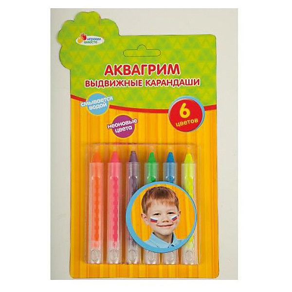 Аквагрим карандаши неоновые, 6 цветовКарнавальный грим<br>Неоновые карандаши для грима прекрасно подойдут к любому празднику. Аквагрим абсолютно безопасен и легко смывается. Готовый рисунок будет светиться в темноте, что несомненно понравится ребенку. С такими яркими карандашами каждая девочка сможет почувствовать себя настоящей принцессой!<br>Дополнительная информация:<br>-в наборе: 6 карандашей(фиолетовый, зеленый, розовый, желтый, оранжевый, синий)<br>-вес: 80 грамм<br>-размер упаковки: 23х14х2 см<br>Неоновые карандаши для аквагрима можно приобрести в нашем интернет-магазине.<br><br>Ширина мм: 20<br>Глубина мм: 140<br>Высота мм: 230<br>Вес г: 80<br>Возраст от месяцев: 36<br>Возраст до месяцев: 84<br>Пол: Унисекс<br>Возраст: Детский<br>SKU: 4915483