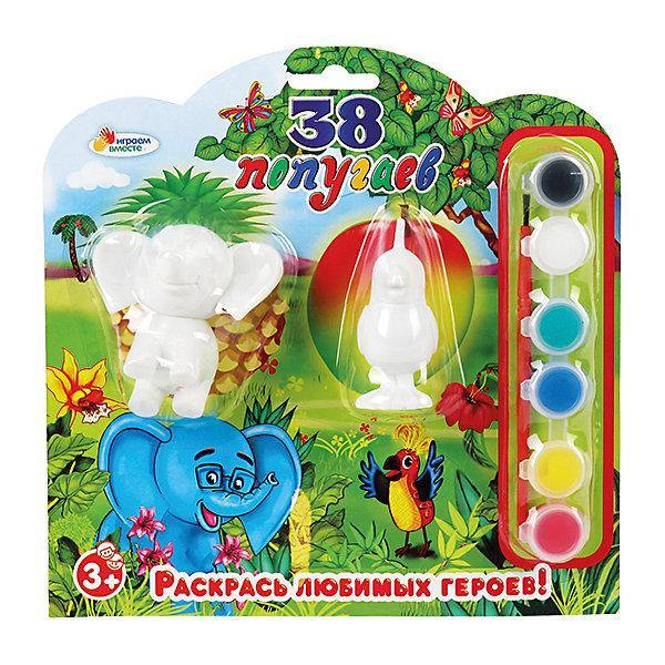 Фигурки для раскрашивания Слон и попугайНаборы для раскрашивания<br>Слон и попугай - набор для раскрашивания. В него входят две фигурки с изображением известных героев советских фильмов, кисточка и краски(6 цветов). С эти набором вы поможете ребенку развить мелкую моторику и воображение!<br>Дополнительная информация:<br>-в наборе: 2 фигурки, краски(синий, черный, белый, красный, желтый, зеленый), кисточка<br>-вес: 190 грамм<br>-размер упаковки: 21х21х4 см<br>Фигурки для раскрашивания Слон и попугай можно приобрести в нашем интернет-магазине.<br>Ширина мм: 40; Глубина мм: 210; Высота мм: 210; Вес г: 190; Возраст от месяцев: 36; Возраст до месяцев: 84; Пол: Унисекс; Возраст: Детский; SKU: 4915487;