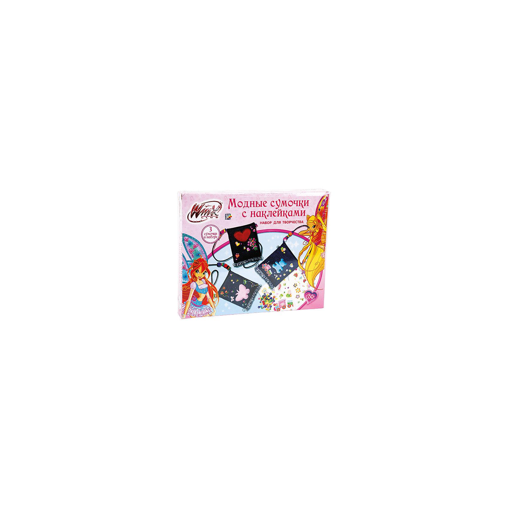 Набор Модные сумочки с наклейками, Winx ClubС помощью набора Winx Club девочка сможет украсить предложенные сумочки для себя или в подарок подружкам. Благодаря аксессуарам легко создавать новый образ на каждый день!<br>Дополнительная информация:<br>-в наборе: 3 сумочки из джинсовой ткани, 3 листа с наклейками, 3 мягкие фигурки, 78 разноцветных бусин, деревянная палочка<br>Сказочный персонаж: Winx Club<br>-вес: 180 грамм<br>-размер упаковки: 27х22х4 см<br>Набор для модной сумочки с наклейками Winx Club можно приобрести в нашем интернет-магазине.<br><br>Ширина мм: 40<br>Глубина мм: 220<br>Высота мм: 270<br>Вес г: 180<br>Возраст от месяцев: 60<br>Возраст до месяцев: 120<br>Пол: Женский<br>Возраст: Детский<br>SKU: 4915513
