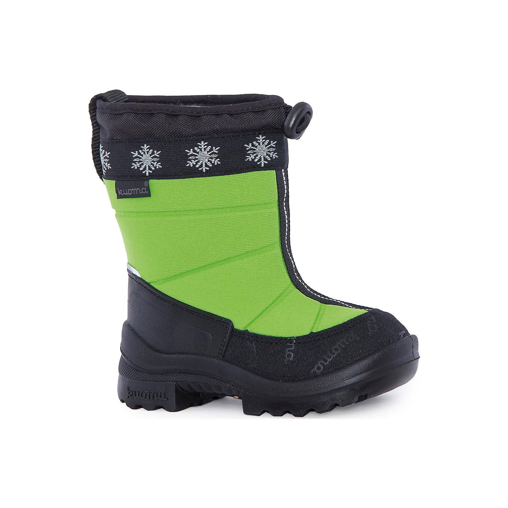 Сапоги Lumi Eskimo для мальчика KUOMAВаленки<br>Характеристики товара:<br><br>• цвет: зеленый<br>• температурный режим: от -5° С до -30° С<br>• внешний материал: полиамид <br>• стелька: натуральная шерсть<br>• подошва: полиуретан<br>• светоотражающие детали<br>• амортизирующая износостойкая подошва<br>• сменная стелька<br>• верх  - с влагоотталкивающей обработкой<br>• страна бренда: Финляндия<br>• страна изготовитель: Финляндия<br><br>Во всех валенках Kuoma до 26 размера включительно утеплитель – натуральная шерсть, начиная с 27 размера – искусственный мех.<br><br>Стильные сапожки для ребенка от известного бренда детской обуви KUOMA (Куома) созданы специально для холодной погоды. Качественные материалы с пропиткой против грязи и воды и модный дизайн понравятся и малышам и их родителям. Подошва и стелька обеспечат ребенку комфорт, сухость и тепло, позволяя в полной мере наслаждаться зимним отдыхом. Усиленная защита пятки и носка обеспечивает дополнительную безопасность детских ног в этих сапожках.<br>Эта красивая и удобная обувь прослужит долго благодаря известному качеству финских товаров. Производитель предусмотрел даже светоотражающие детали и амортизирующие свойства подошвы! Модель производится из качественных и проверенных материалов, которые безопасны для детей.<br><br>Зимние сапоги Lumi Eskimo для мальчика от бренда KUOMA (Куома) можно купить в нашем интернет-магазине.<br><br>Ширина мм: 257<br>Глубина мм: 180<br>Высота мм: 130<br>Вес г: 420<br>Цвет: зеленый<br>Возраст от месяцев: 60<br>Возраст до месяцев: 72<br>Пол: Мужской<br>Возраст: Детский<br>Размер: 29,27,28,26,30,31,23,24,25,22<br>SKU: 4915748