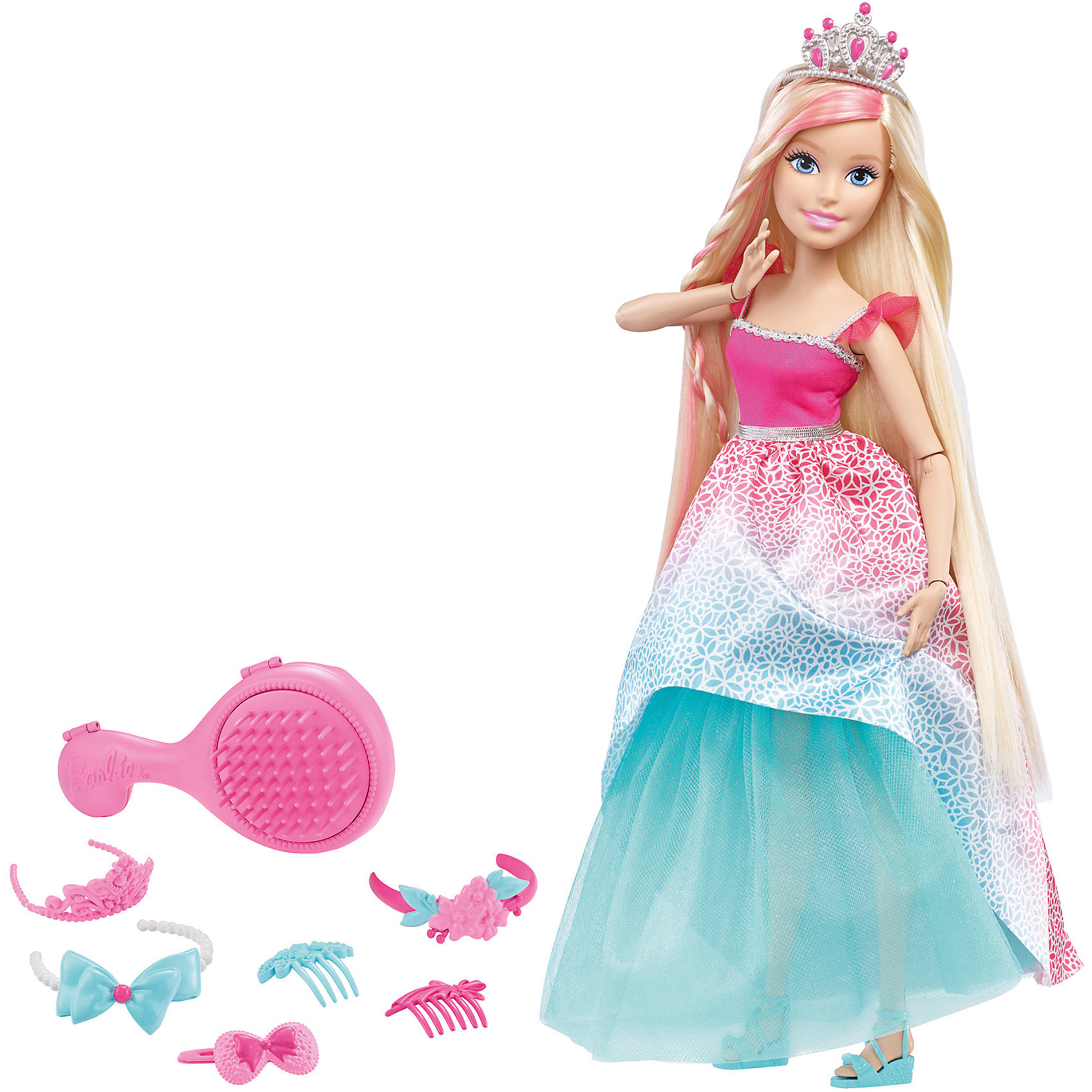 Кукла большого размера с длинными волосами, BarbieBarbie<br>Куклы большого размера с длинными волосами, Barbie, в ассортименте от Mattel (Маттел) ? новая линейка кукол Барби с длинными волосами и аксессуарами для волос. Куклы этой серии выполнены из безопасного и качественного пластика, части тела ? на шарнирах, что позволяет придавать разнообразные позы. <br>У Barbie длинные густые волосы, из которых можно делать огромное количество причесок. Кукла одета в праздничное платье: розовый лиф платья украшено тесьмой, низ платья состоит из двух юбок – нижняя пышная юбка голубого цвета, верхняя розовая с цветочным принтом. На ногах голубые босоножки. В комплекте с куклой имеется расческа-шкатулка, 3 заколки розового и голубого цвета, 2 заколки гребня, 1 повязка-баррета и тиара. <br>Куклы большого размера с длинными волосами, Barbie, в ассортименте от Mattel (Маттел) ? идеальный подарок для девочки к любому торжеству.<br><br>Дополнительная информация:<br><br>- Вид игр: сюжетно-ролевые <br>- Предназначение: для дома<br>- Комплектация: кукла, аксессуары <br>- Материал: пластик, резина, текстиль<br>- Размеры (Д*Ш*В): 9,5*35,5*32,5 см, высота куклы 43 см<br>- Вес: 950 г<br>- Особенности ухода: куклу и аксессуары можно мыть в теплой мыльной воде<br><br>Подробнее:<br><br>• Для детей в возрасте: от 3 лет и до 12 лет<br>• Страна производитель: Индонезия<br>• Торговый бренд: Barbie<br><br>Куклы большого размера с длинными волосами, Barbie, в ассортименте от Mattel (Маттел) можно купить в нашем интернет-магазине.<br><br>Ширина мм: 95<br>Глубина мм: 355<br>Высота мм: 325<br>Вес г: 950<br>Возраст от месяцев: 36<br>Возраст до месяцев: 144<br>Пол: Женский<br>Возраст: Детский<br>SKU: 4915800