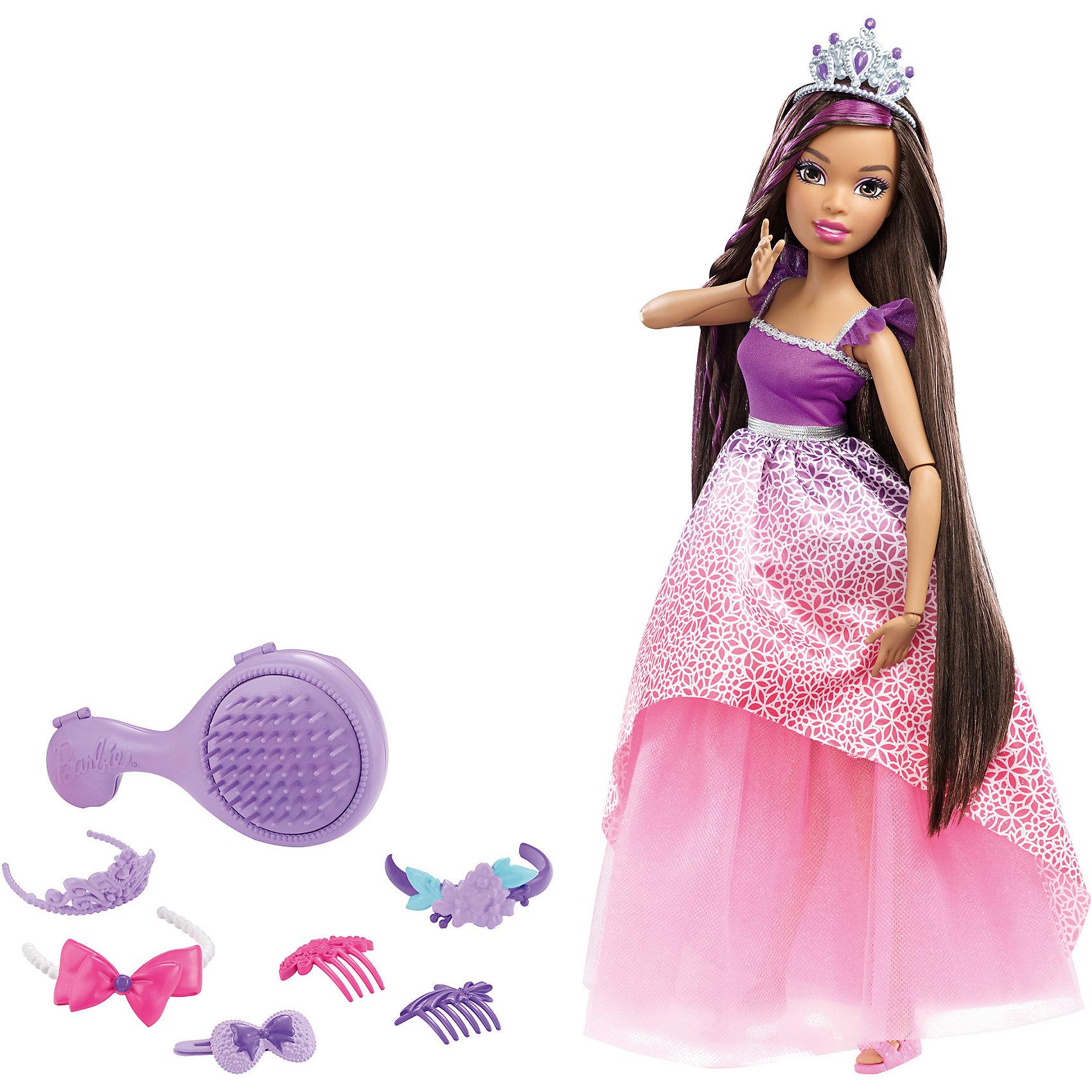 Кукла большого размера с длинными волосами, BarbieПопулярные игрушки<br>Куклы большого размера с длинными волосами, Barbie, в ассортименте от Mattel (Маттел) ? новая линейка кукол Барби с длинными волосами и аксессуарами для волос. Куклы этой серии выполнены из безопасного и качественного пластика, части тела ? на шарнирах, что позволяет придавать разнообразные позы. <br>У Barbie длинные густые волосы темного цвета, из которых можно делать огромное количество причесок. Кукла одета в праздничное платье: сиреневый лиф платья украшен тесьмой, низ платья состоит из двух юбок – нижняя пышная юбка розового цвета, верхняя розовая с цветочным принтом. На ногах розовые босоножки. В комплекте с куклой имеется расческа-шкатулка, 3 заколки розового и сиреневого цвета, 2 заколки гребня, 1 повязка-баррета и тиара. <br>Куклы большого размера с длинными волосами, Barbie, в ассортименте от Mattel (Маттел) ? идеальный подарок для девочки к любому торжеству.<br><br>Дополнительная информация:<br><br>- Вид игр: сюжетно-ролевые <br>- Предназначение: для дома<br>- Комплектация: кукла, аксессуары <br>- Материал: пластик, резина, текстиль<br>- Размеры (Д*Ш*В): 9,5*35,5*32,5 см, высота куклы 43 см<br>- Вес: 950 г<br>- Особенности ухода: куклу и аксессуары можно мыть в теплой мыльной воде<br><br>Подробнее:<br><br>• Для детей в возрасте: от 3 лет и до 12 лет<br>• Страна производитель: Индонезия<br>• Торговый бренд: Barbie<br><br>Куклы большого размера с длинными волосами, Barbie, в ассортименте от Mattel (Маттел) можно купить в нашем интернет-магазине.<br><br>Ширина мм: 95<br>Глубина мм: 355<br>Высота мм: 325<br>Вес г: 950<br>Возраст от месяцев: 36<br>Возраст до месяцев: 144<br>Пол: Женский<br>Возраст: Детский<br>SKU: 4915801