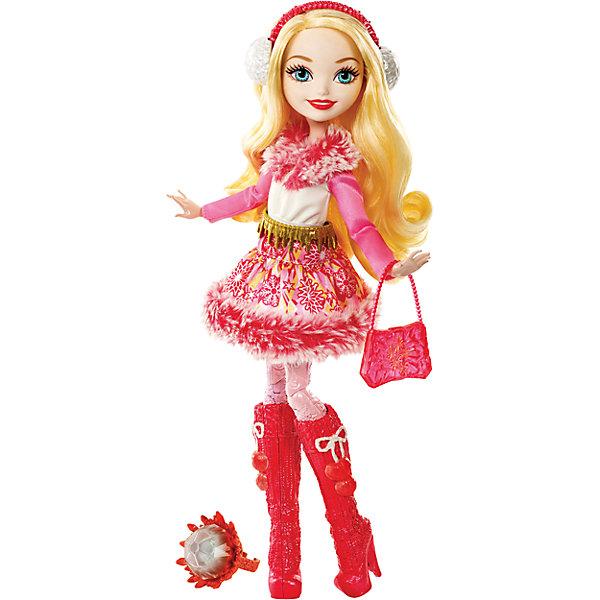 Кукла из коллекции Заколдованная зима, Ever After HighБренды кукол<br>Кукла Эппл Уайт, Ever After High™ (Эвер Афтер Хай) ? одна из героинь серии Заколдованная зима, Ever After High. Кукла выполнена из безопасного эластичного пластика, голова из безопасного и нетоксичного ПВХ, волосы из нейлона. Все части тела: руки, ноги, голова ? подвижные.<br>Эппл обучается с другими героинями знаменитого мультфильма Школа «Долго и Счастливо», она носит титул Всех прекрасней и милее. Эппл – дочь Белоснежки. Ее образ состоит из яркого зимнего платья с мехом, юбочка платья с рисунком из снежинок, ярких красных сапожек, розовых колготок, на голове — меховые наушники, в руках – изящная сумочка. Кроме того, в комплекте с куклой идет кольцо детского размера и книжка. <br><br>Дополнительная информация:<br><br>- Вид игр: сюжетно-ролевые <br>- Предназначение: для дома<br>- Материал: пластик, ПВХ, текстиль, нейлон<br>- Цвет: розовый, красный, белый<br>- Размер (Д*Ш*В): 6,5*23*32,5 см<br>- Вес: 378 г <br>- Особенности ухода: куклу и аксессуары можно мыть в теплой мыльной воде, платье ? ручная стирка<br><br>Подробнее:<br><br>• Для детей в возрасте: от 6 лет и до 12 лет<br>• Страна производитель: Индонезия<br>• Торговый бренд: Mattel<br><br>Куклу Эппл Уайт, Ever After High™ (Эвер Афтер Хай) можно купить в нашем интернет-магазине.<br><br>Ширина мм: 65<br>Глубина мм: 230<br>Высота мм: 325<br>Вес г: 378<br>Возраст от месяцев: 72<br>Возраст до месяцев: 144<br>Пол: Женский<br>Возраст: Детский<br>SKU: 4915804