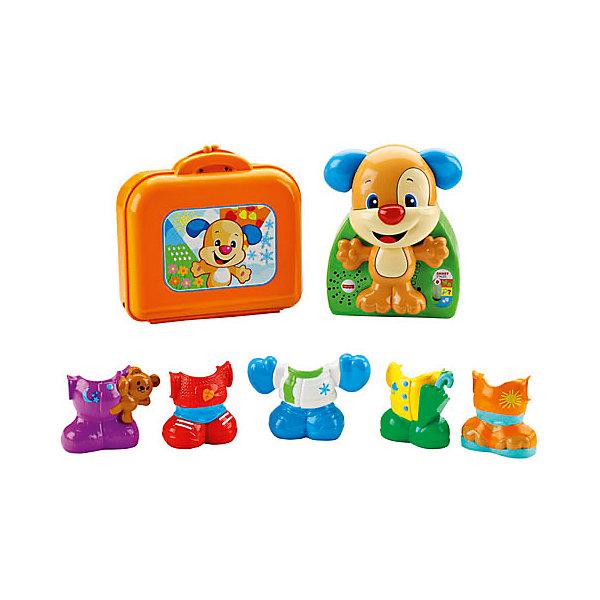 Игра «Наряди щенка», Fisher PriceИнтерактивные игрушки<br>Игра «Наряди щенка», Fisher Price ? развивающая игрушка от знаменитого бренда Mattel с технологией Smart Stages, которая позволяет выбирать индивидуальный режим обучения для ребенка. Игрушка выполнена из качественного и безопасного пластика, устойчивого к изменению цвета и механическим повреждениям и сколам. У всех элементов отсутствуют острые углы, что делает игрушку безопасной.<br>Игра «Наряди щенка», Fisher Price представляет собой набор из фигурки щенка и пяти разнообразных съемных нарядов. Щенок – интерактивный, он произносит звуки и слова, поет песенки. Увлекательная игра со щенком позволит в легкой ненавязчивой форме познакомиться ребенку с различными предметами одежды, освоить и запомнить особенности каждого времени года. Игровой набор направлен на развитие мелкой моторики, расширение кругозора и словарного запаса ребенка.<br> <br>Дополнительная информация:<br><br>- Вид игр: развивающие, сюжетно-ролевые <br>- Материал: пластик<br>- Комплектация: фигурка щенка, пять съемных нарядов, чемоданчик<br>- Размер (Д*Ш*В): 9*34,5*33 см<br>- Вес: 830 г <br>- Особенности ухода: все элементы набора можно протирать влажной губкой<br><br>Подробнее:<br><br>• Для детей в возрасте: от 1,5 лет и до 4 лет<br>• Страна производитель: Китай<br>• Торговый бренд: Mattel<br><br>Игру «Наряди щенка», Fisher Price можно купить в нашем интернет-магазине.<br><br>Ширина мм: 90<br>Глубина мм: 345<br>Высота мм: 330<br>Вес г: 830<br>Возраст от месяцев: 18<br>Возраст до месяцев: 48<br>Пол: Унисекс<br>Возраст: Детский<br>SKU: 4915808